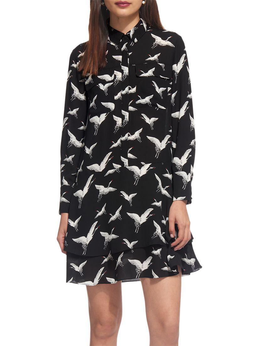 b3417c1755 Whistles Crane Print Shirt Dress in Black - Lyst
