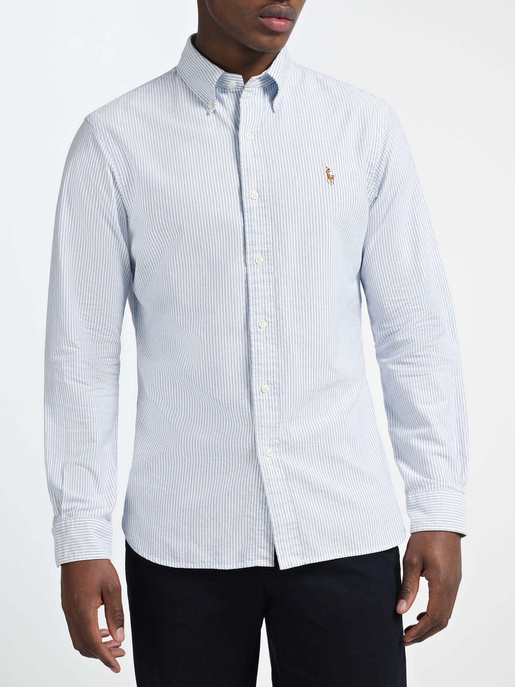 1b2bbb683469 Ralph Lauren Polo Slim Fit Striped Oxford Shirt in Blue for Men - Lyst