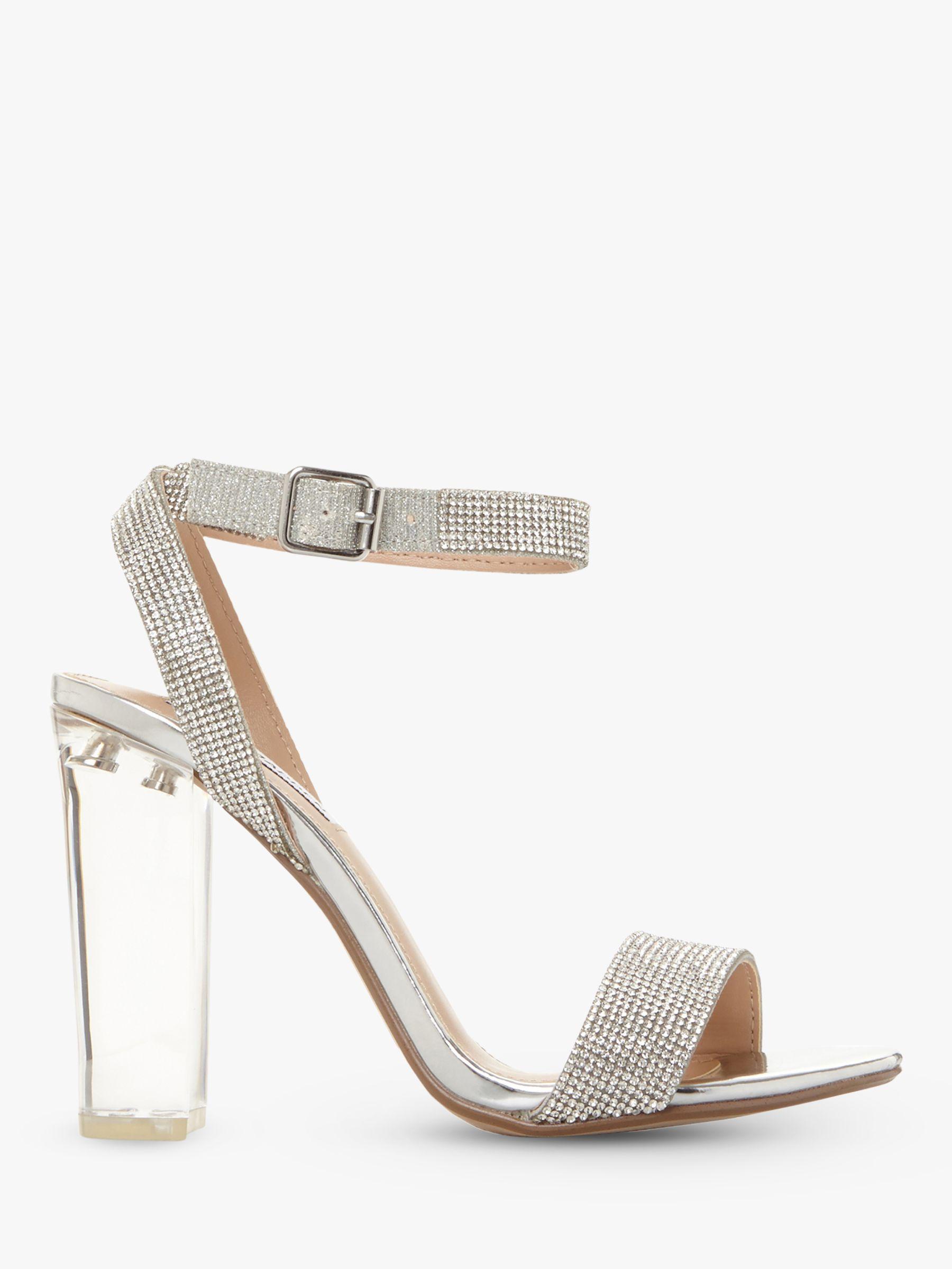 a6656bc8e486 Steve Madden Crysler Crystal High Block Heel Sandals in Metallic - Lyst
