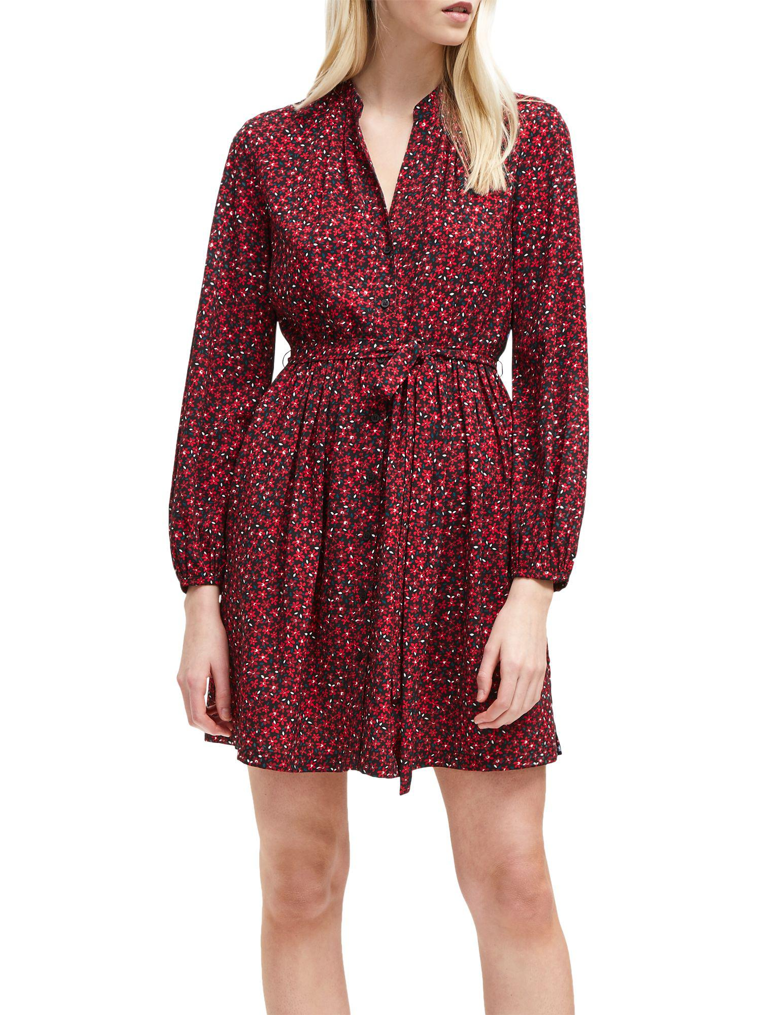 84b0e8d26207 French Connection Aubine Fluid Short Shirt Dress in Red - Save 48 ...