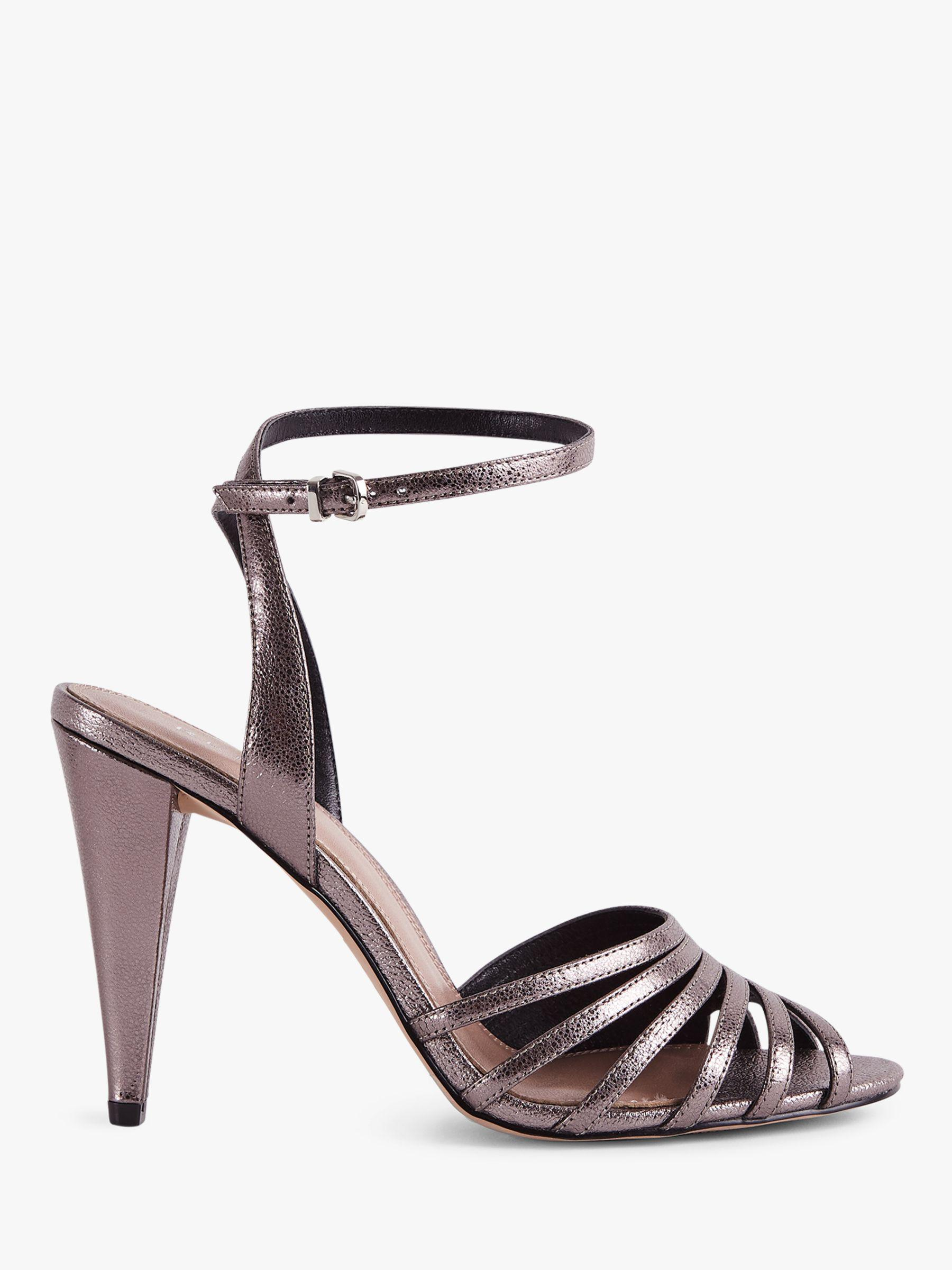 66e500c13 Reiss Garbo Metallic High Heeled Strappy Sandals in Gray - Lyst