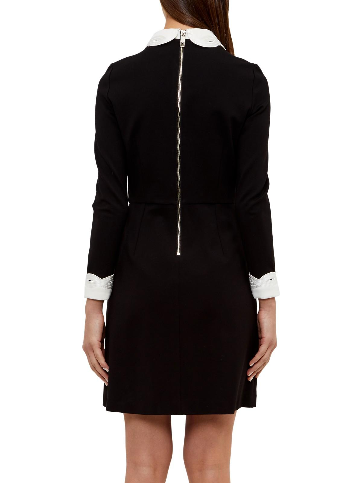 Lyst Ted Baker Shealah Embroidered Collar Dress In Black