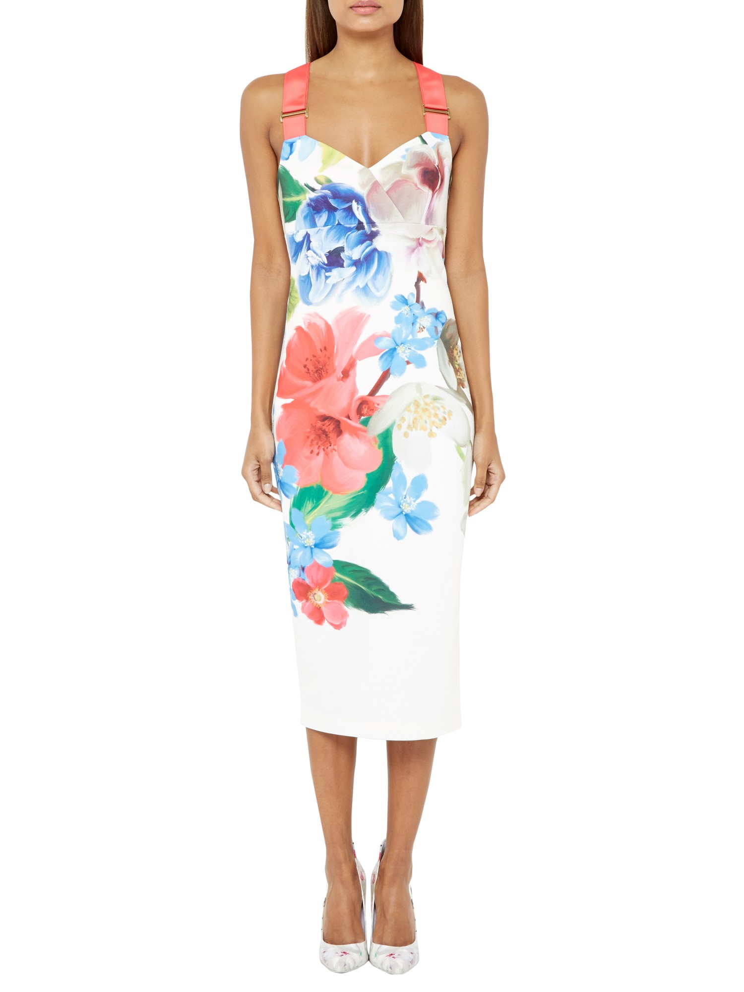 Ted baker alexie forget me not midi dress in white lyst gallery womens flower dresses mightylinksfo