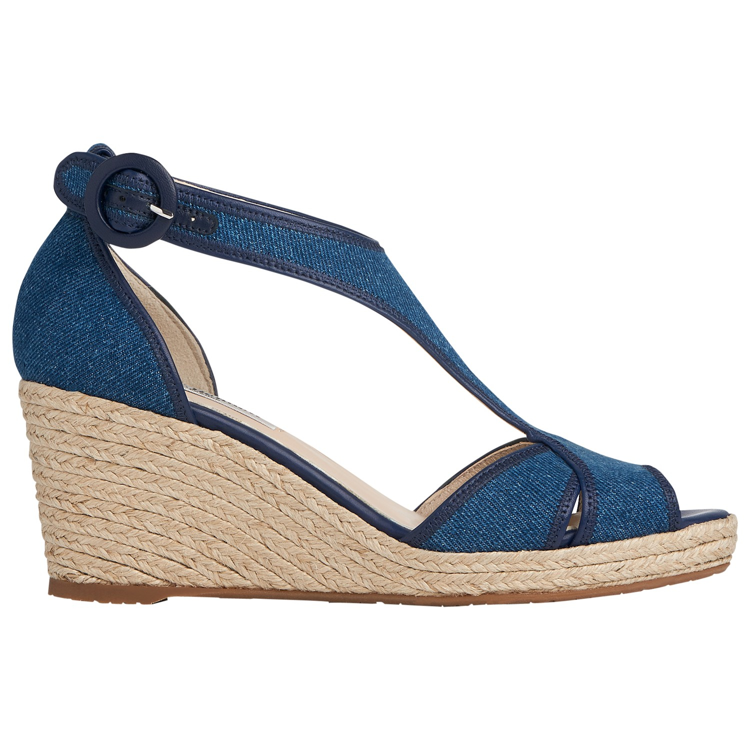 l k kesha wedge heeled sandals in blue denim lyst