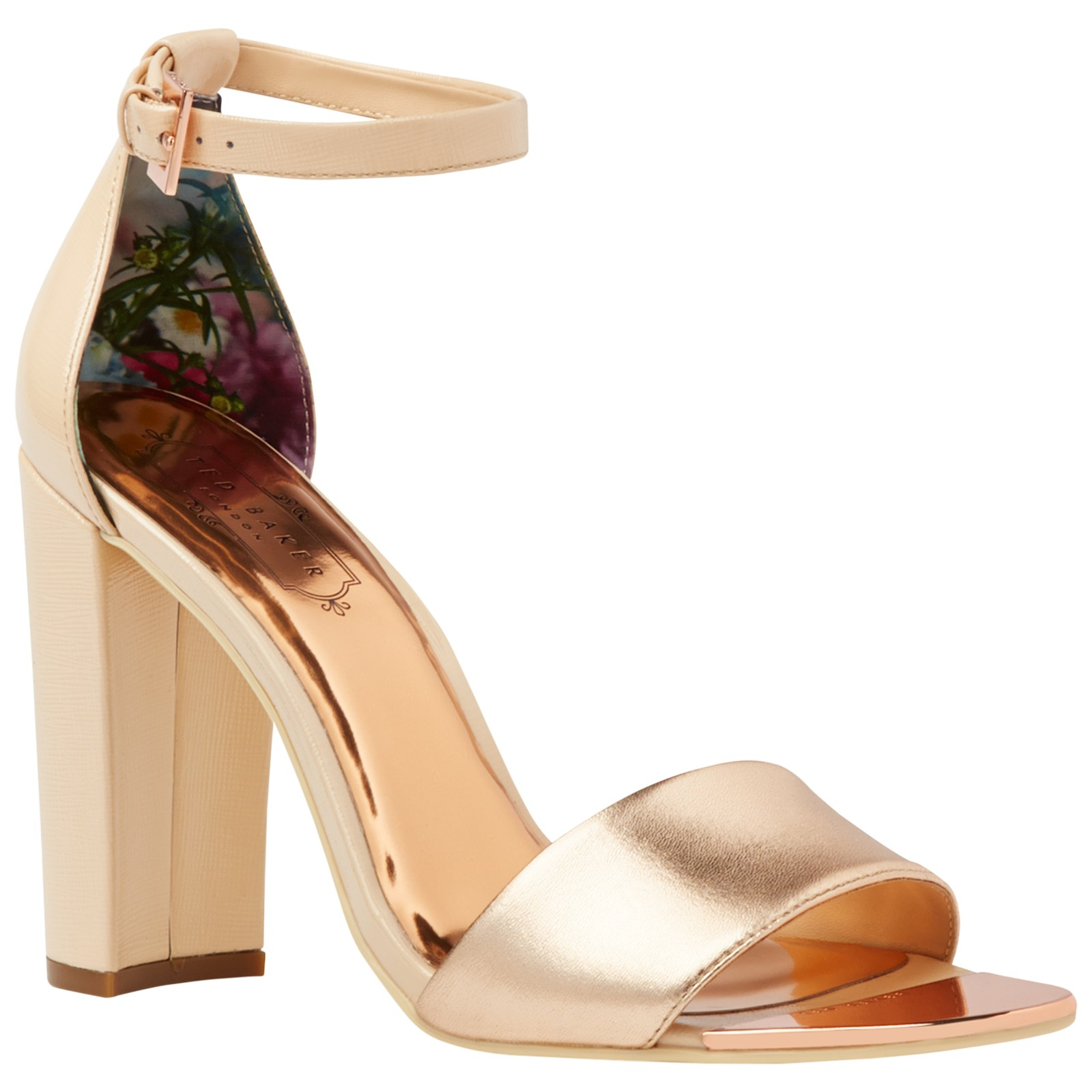 9078865cc68 Ted Baker Caiye Block Heeled Sandals in Metallic - Lyst