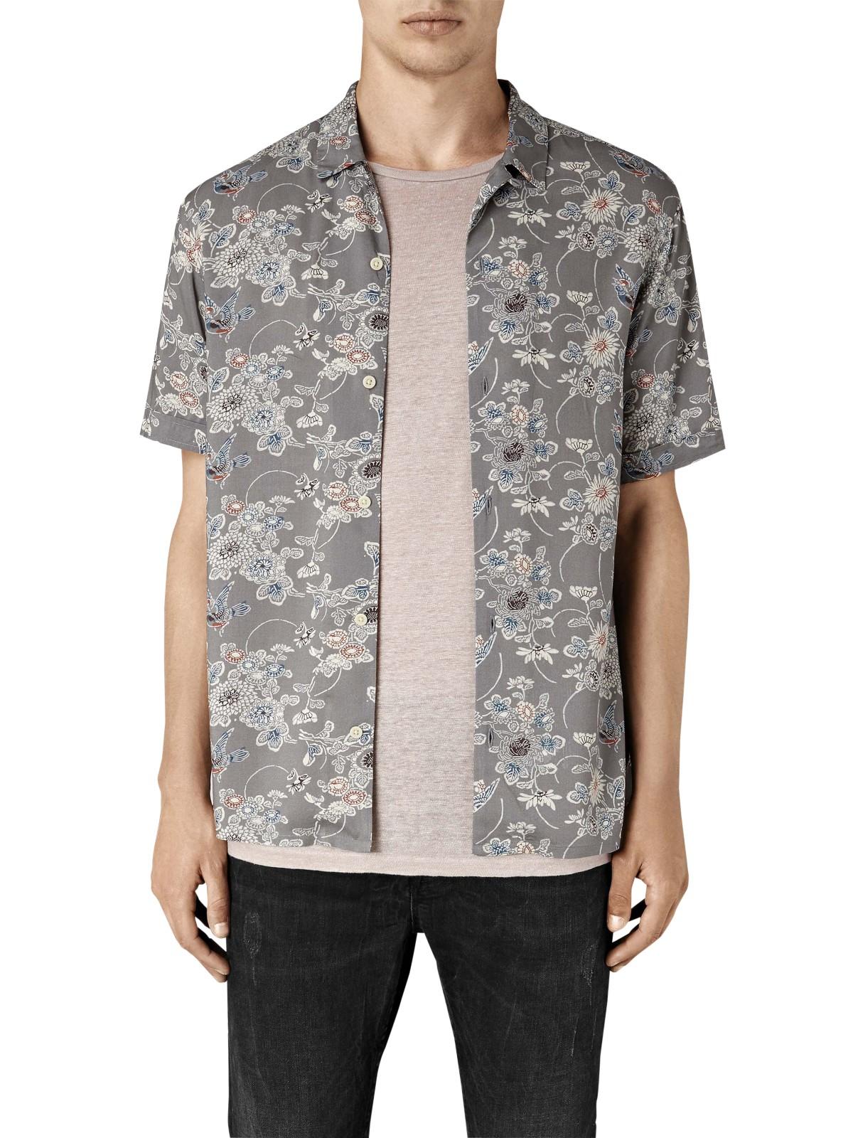 Allsaints hydrangea floral short sleeve shirt in gray for for Mens short sleeve floral shirt