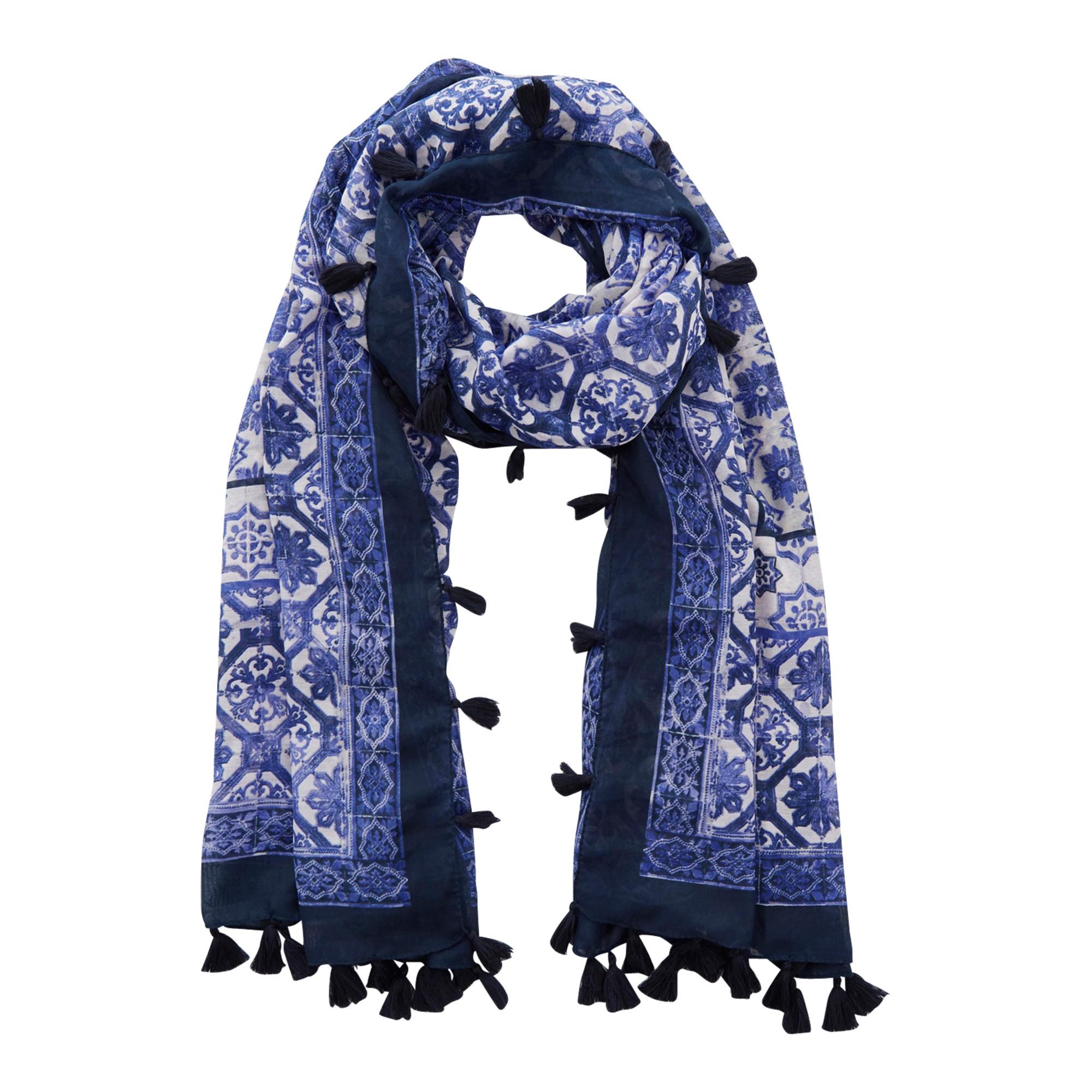 oasis tile print tassel scarf in blue lyst
