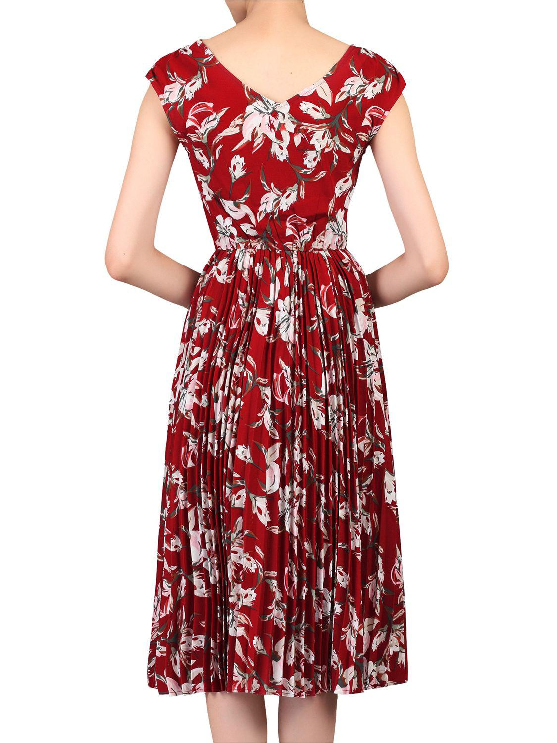 e525148823c9 Jolie Moi Floral Print Pleated Tea Dress in Red - Lyst