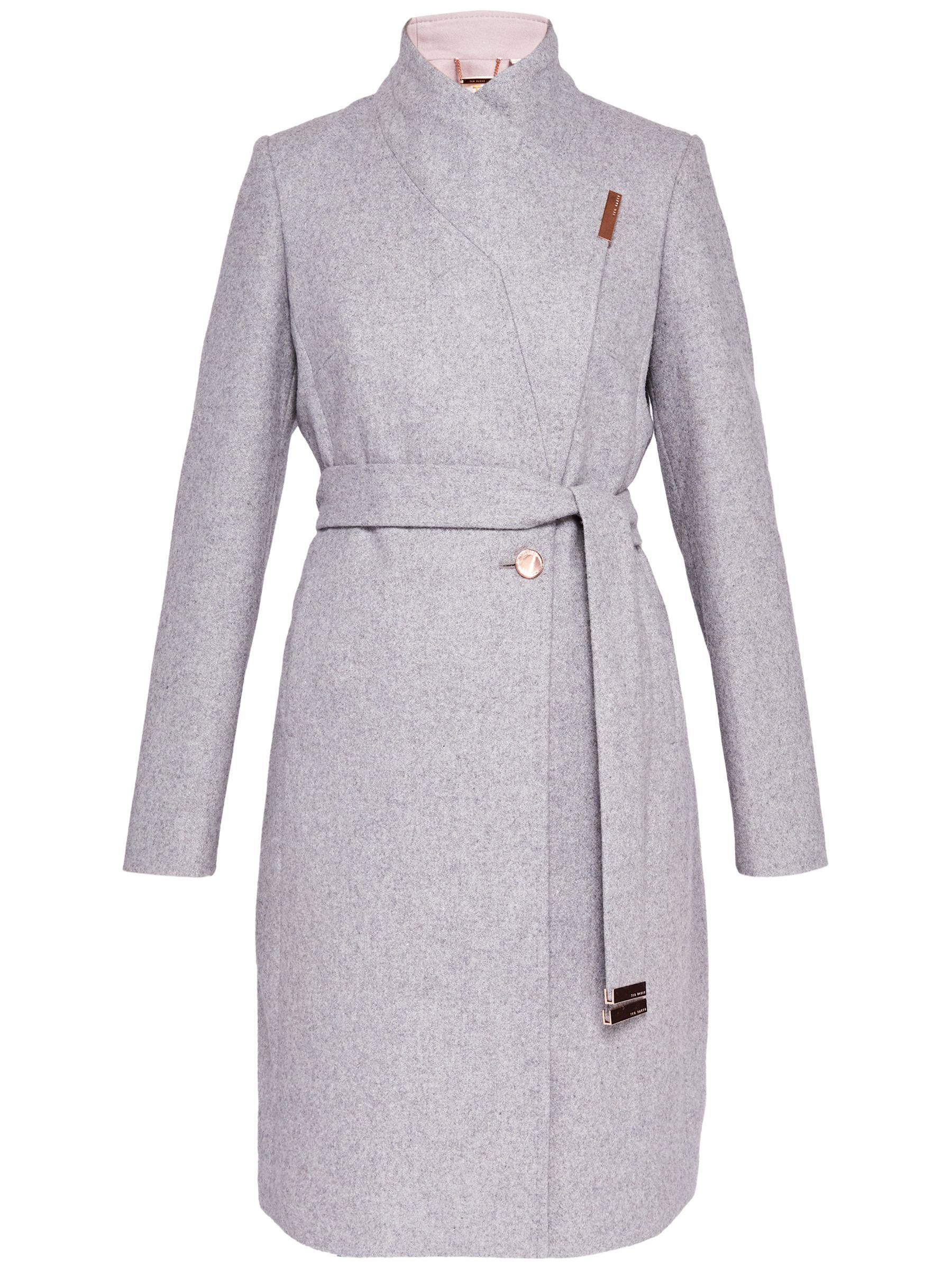 49f400c6073a Ted Baker Khera Wool Cashmere Blend Wrap Coat in Gray - Lyst