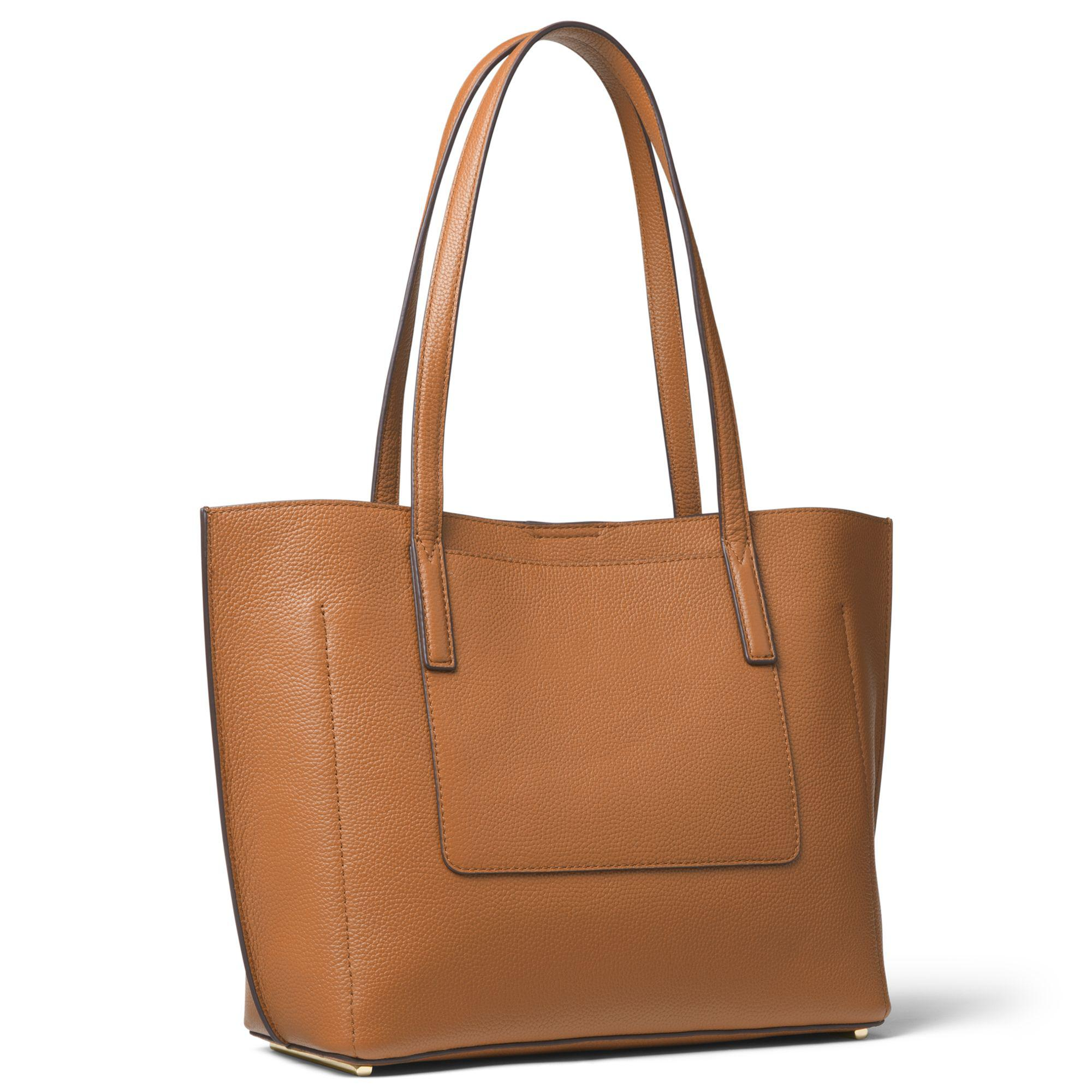 59b47ab175 Michael Kors Ana Medium Pebbled Leather Tote in Brown - Lyst