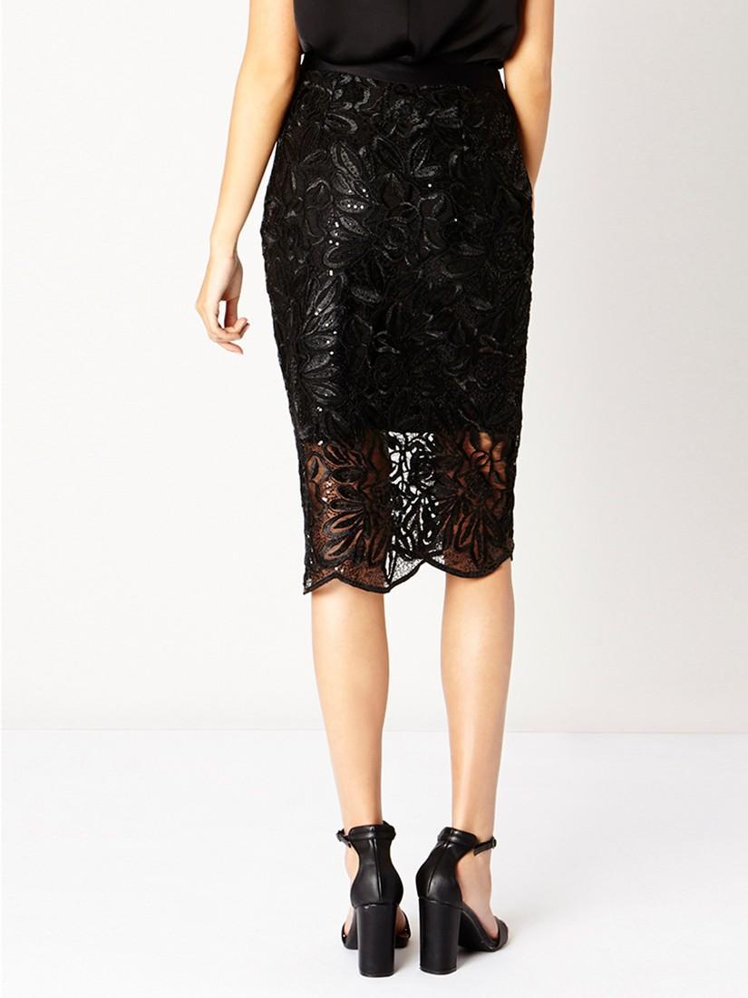 coast lillian lace pencil skirt in black lyst