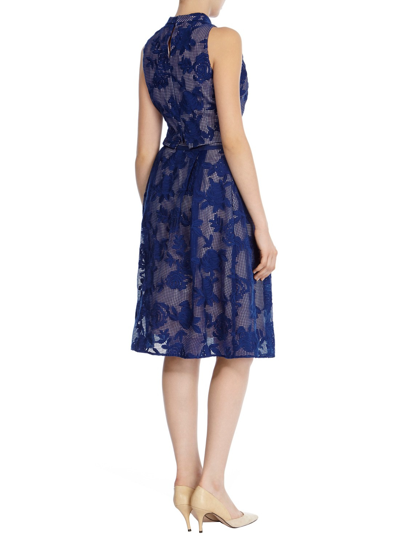 coast trellis embroidered midi skirt in blue lyst