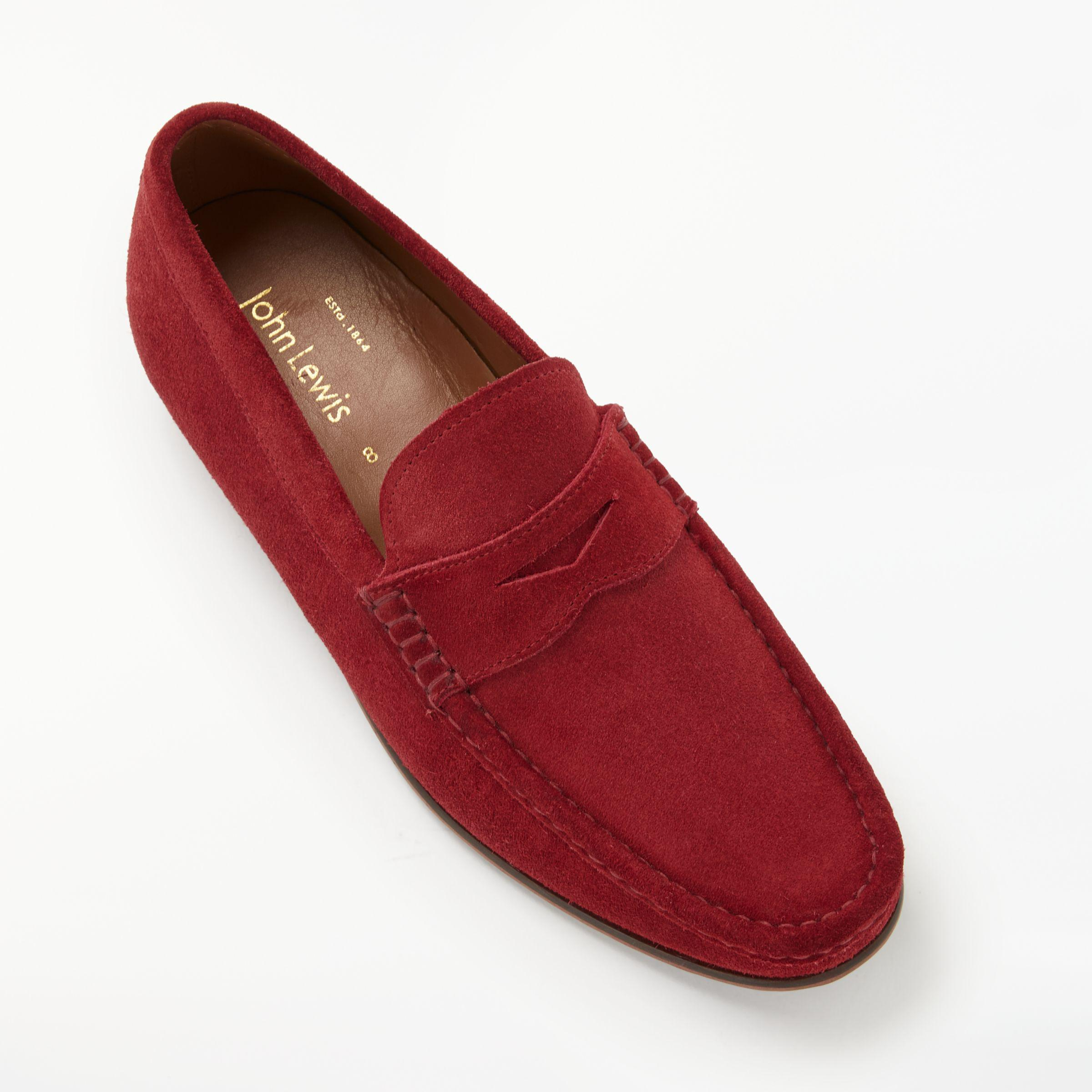 82c107b4039 John Lewis Louis Suede Penny Loafers in Red for Men - Lyst