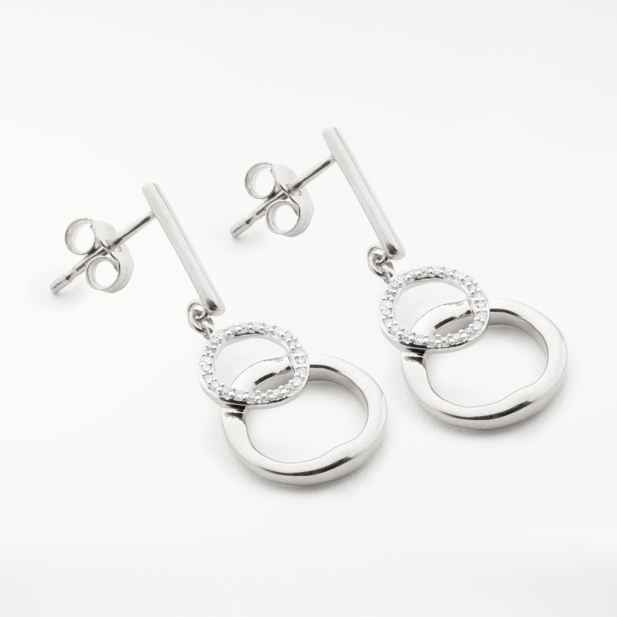 97c186dbe9f1 Modern Rarity Diamond Linked Hoop Drop Earrings in Metallic - Lyst