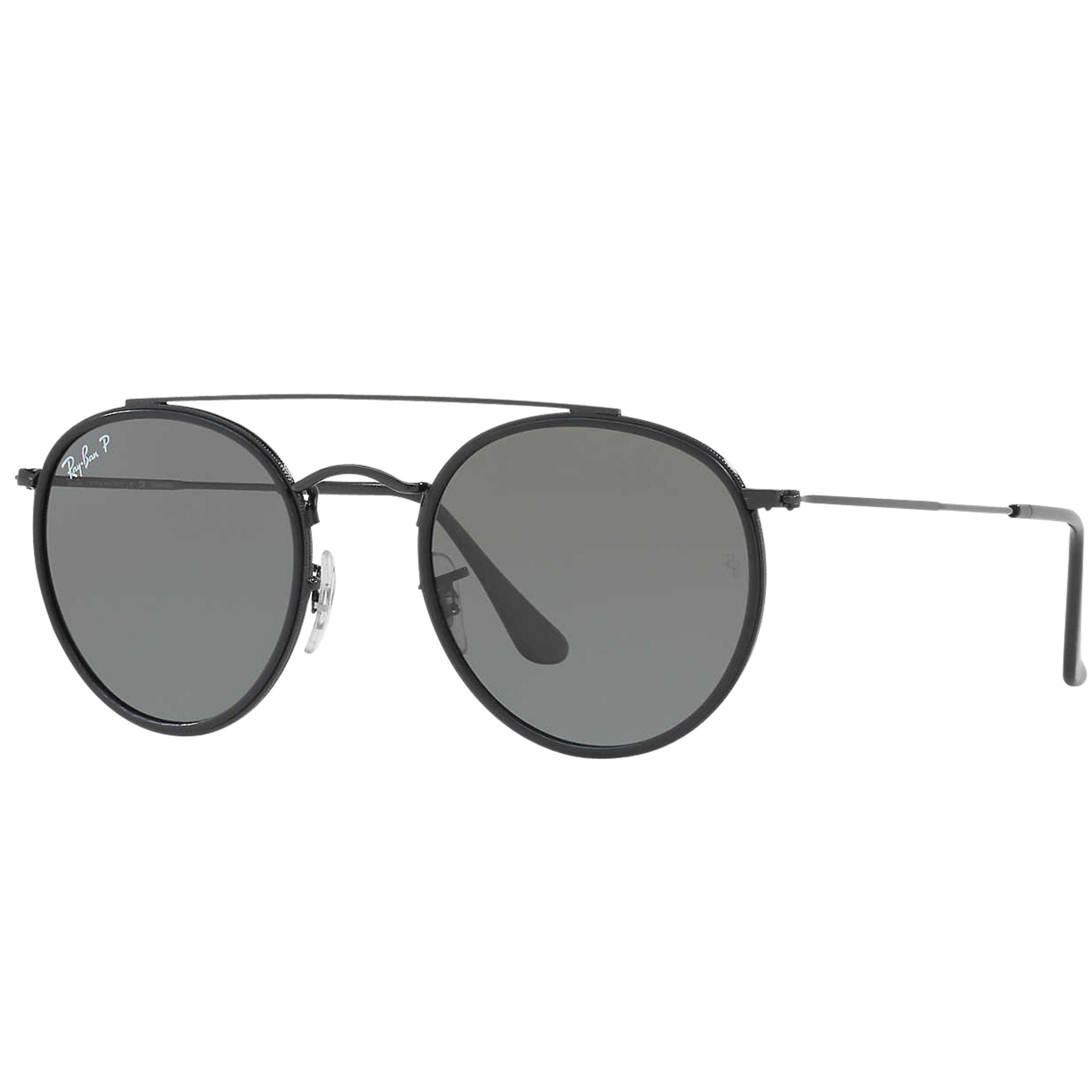 f4a8f3a6c7639 Ray-Ban Rb3647n Polarised Double Bridge Round Sunglasses in Gray for ...