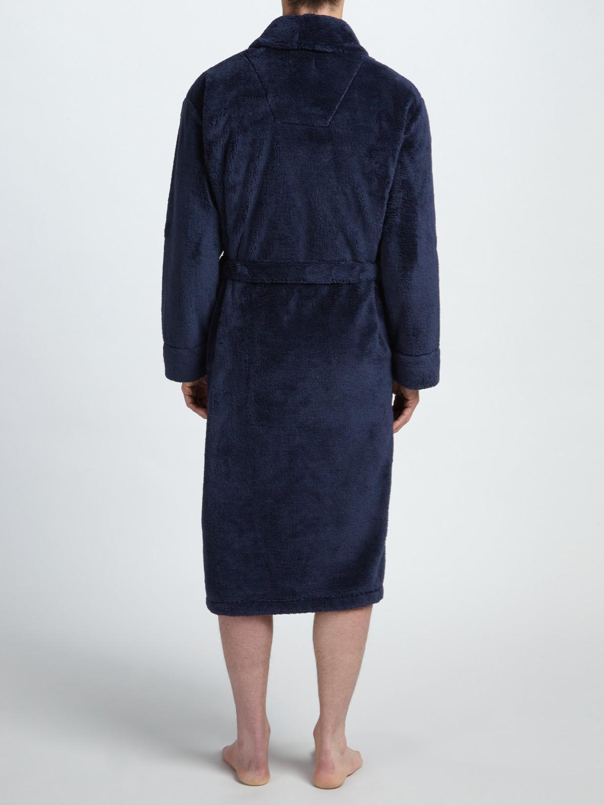 lewis high pile fleece robe in blue for lyst