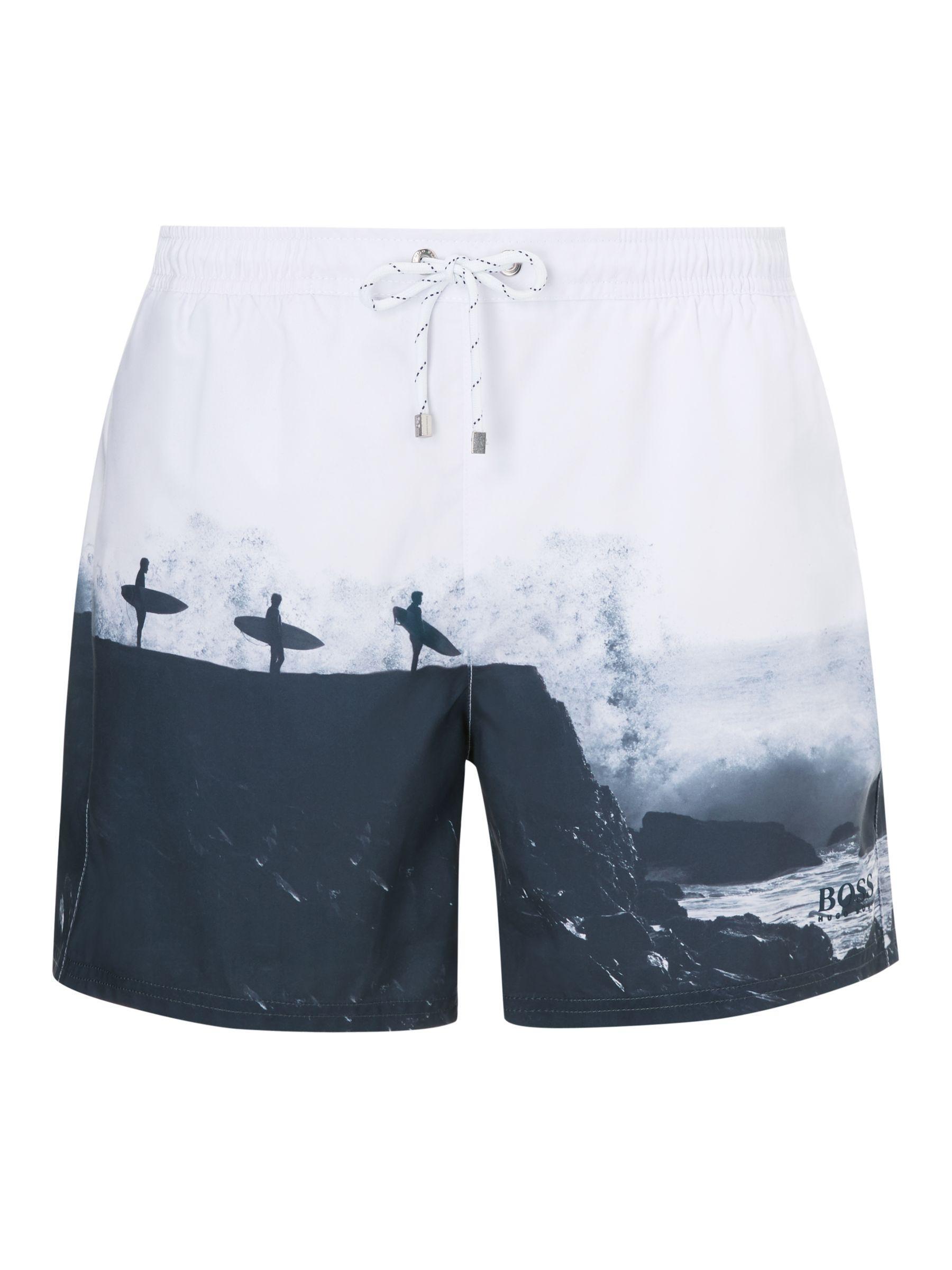 6df37d65b4 BOSS Surfer Photo Swim Shorts in Blue for Men - Lyst