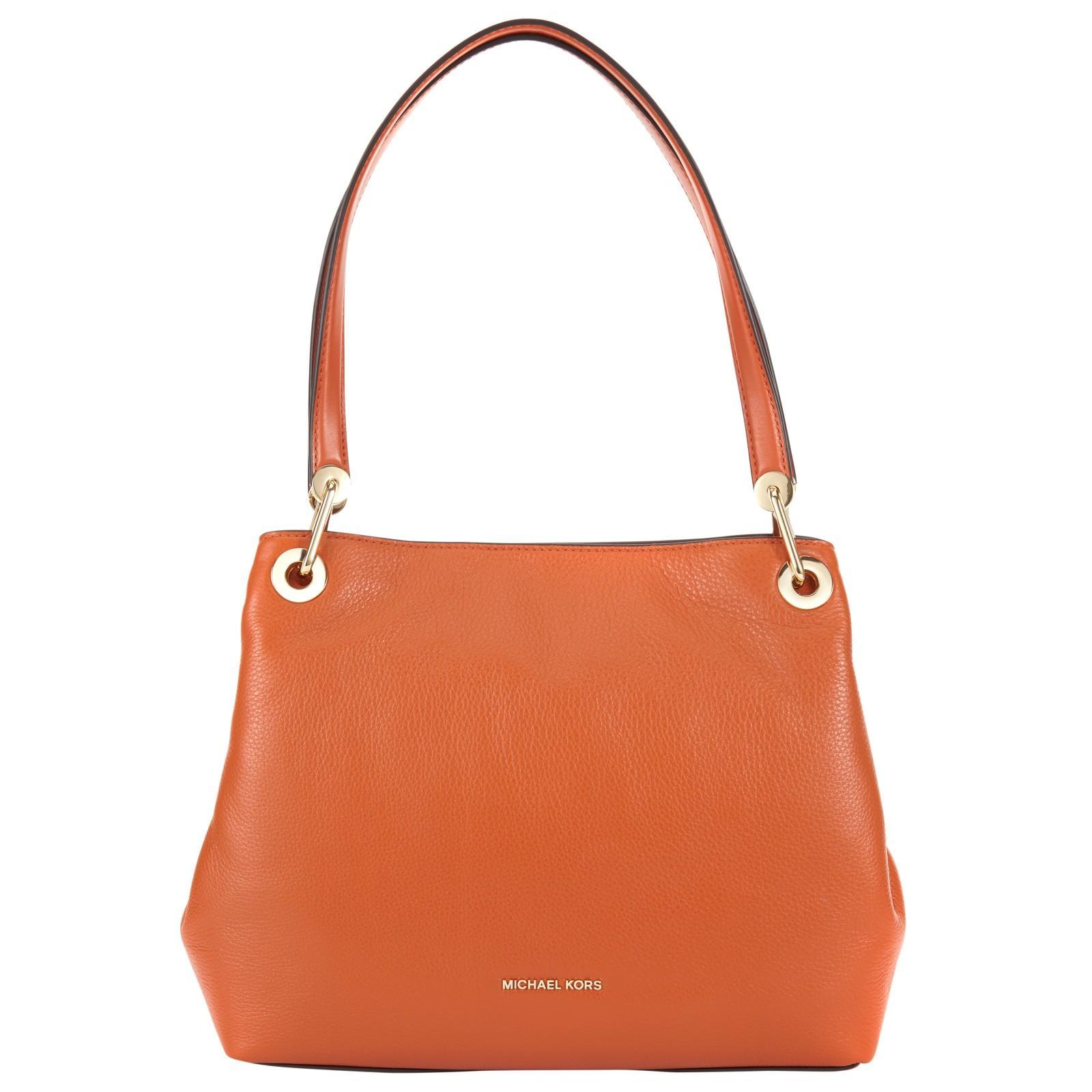 MICHAEL Michael Kors Raven Large Leather Shoulder Bag in Orange - Lyst d5937598af3b5