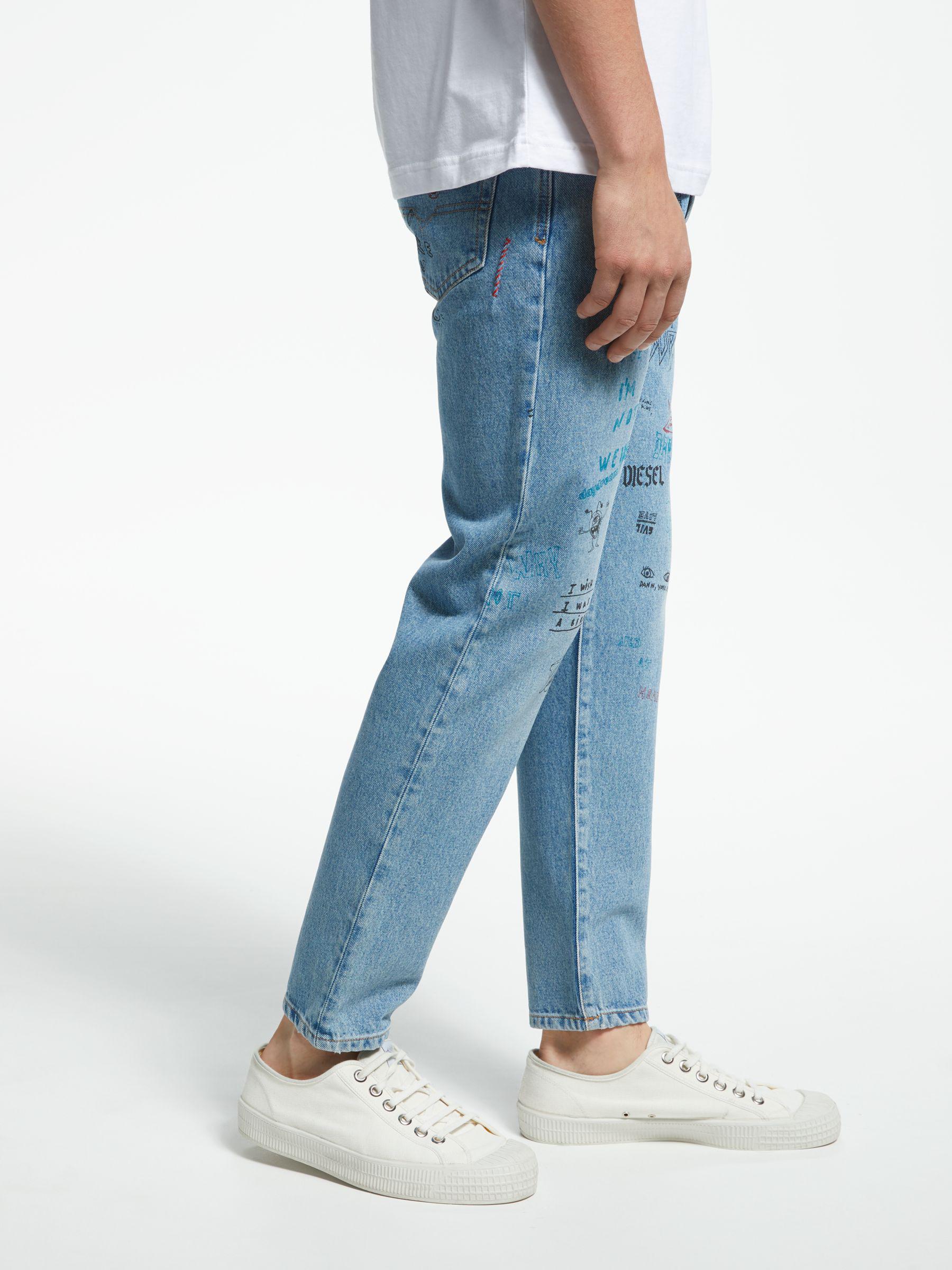 ca0567c7 DIESEL Mharky Slim Printed Jeans in Blue for Men - Lyst