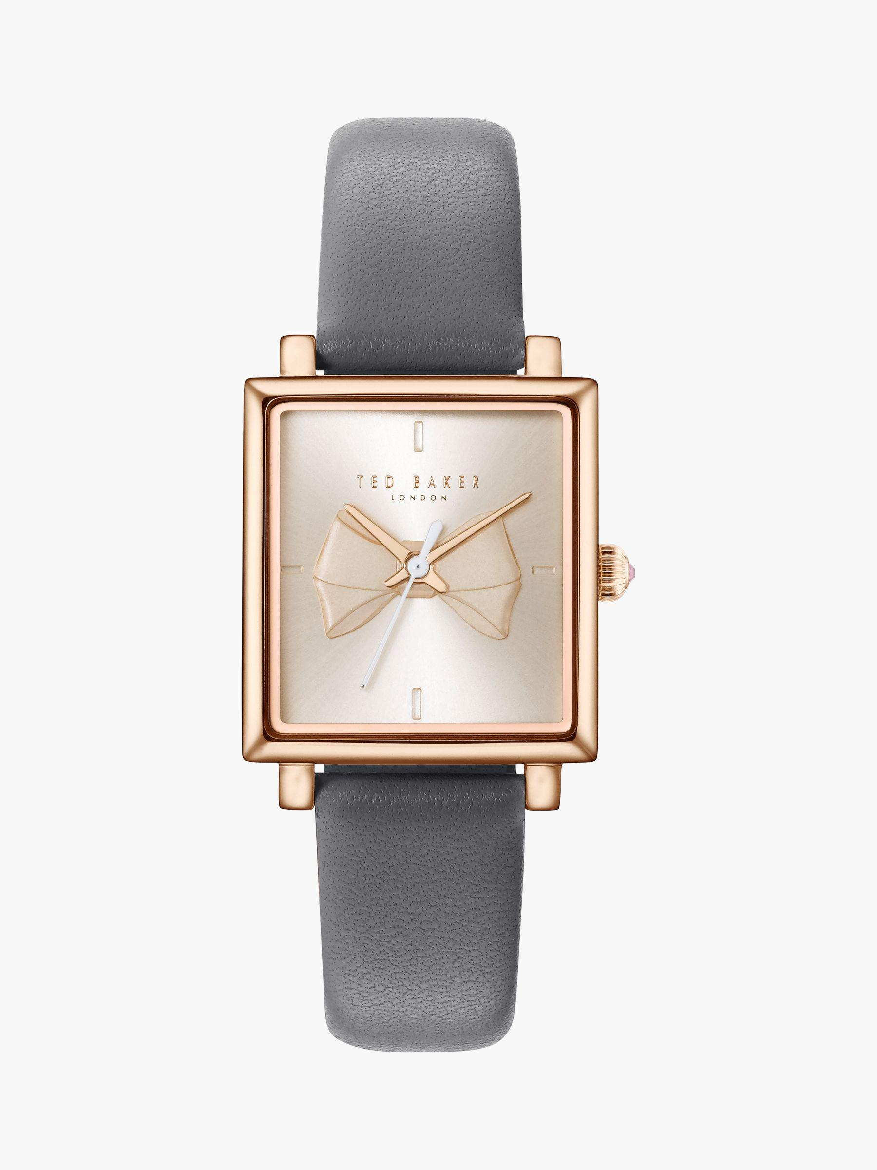 3697bf6bbf9c3 Ted Baker Women s Isabella Bow Leather Strap Watch in White - Lyst