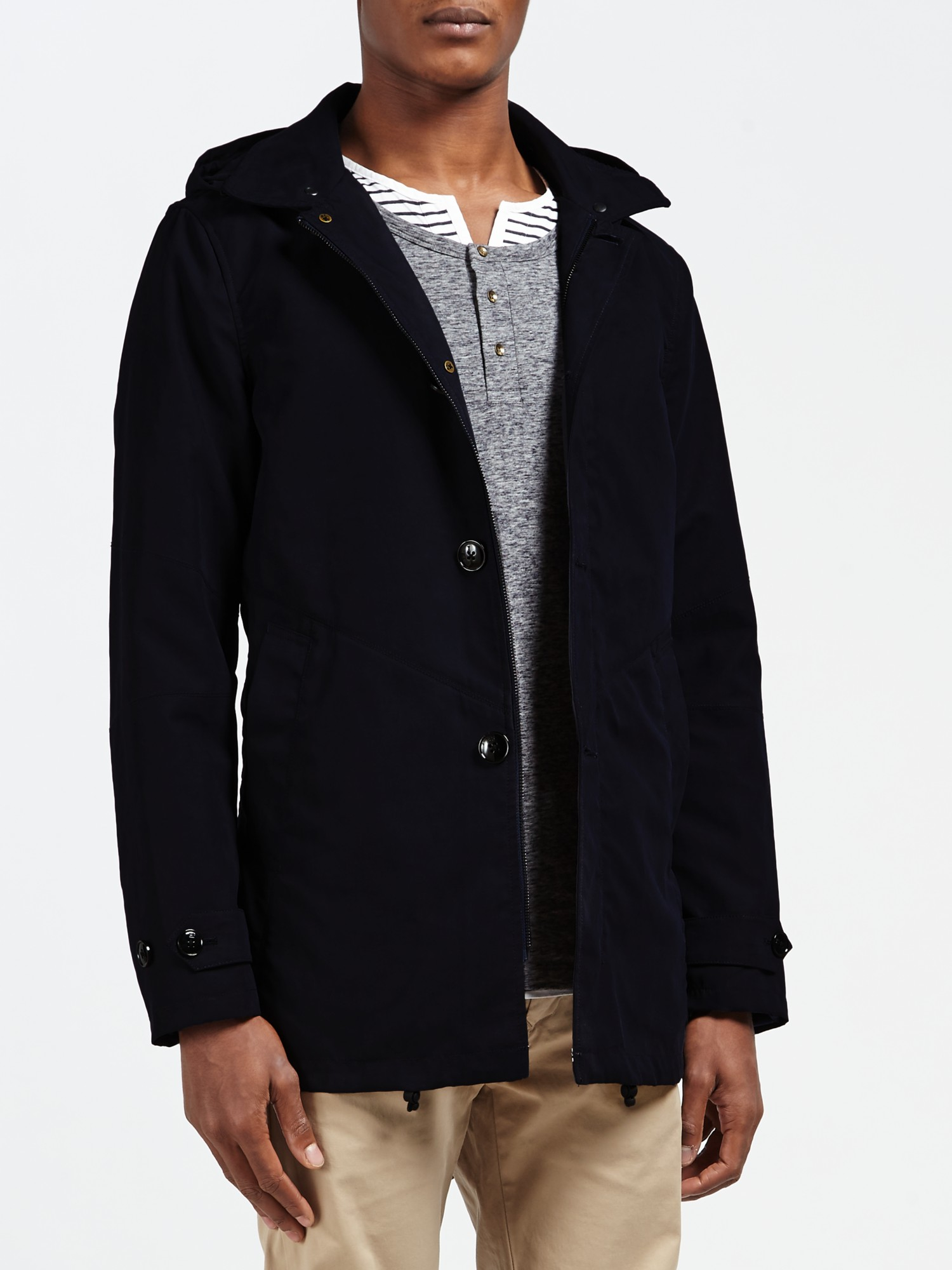 scotch soda parka tailed trench coat in blue for men lyst. Black Bedroom Furniture Sets. Home Design Ideas