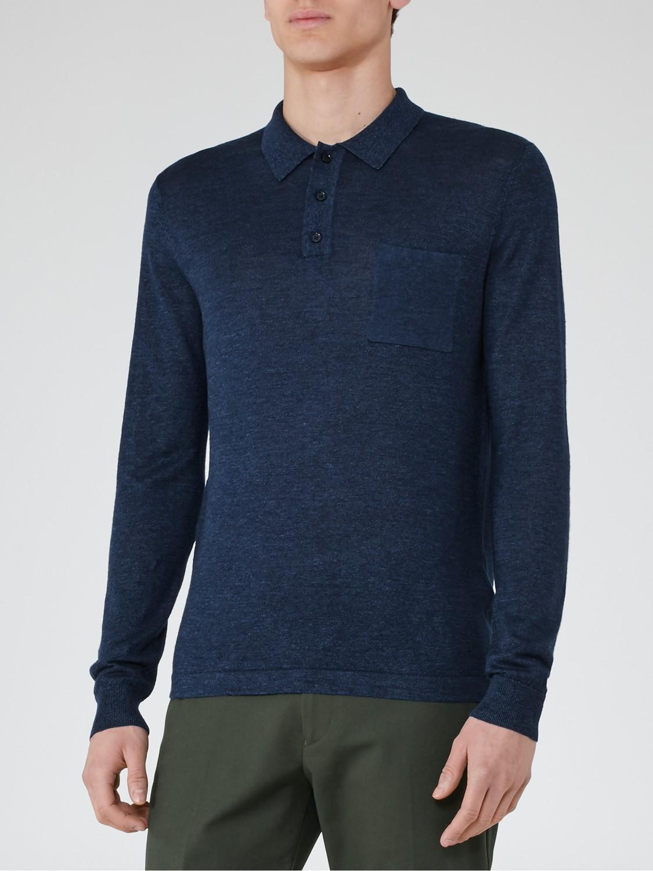 Reiss bombay wool linen long sleeve polo shirt in blue for for Long sleeve wool polo shirts