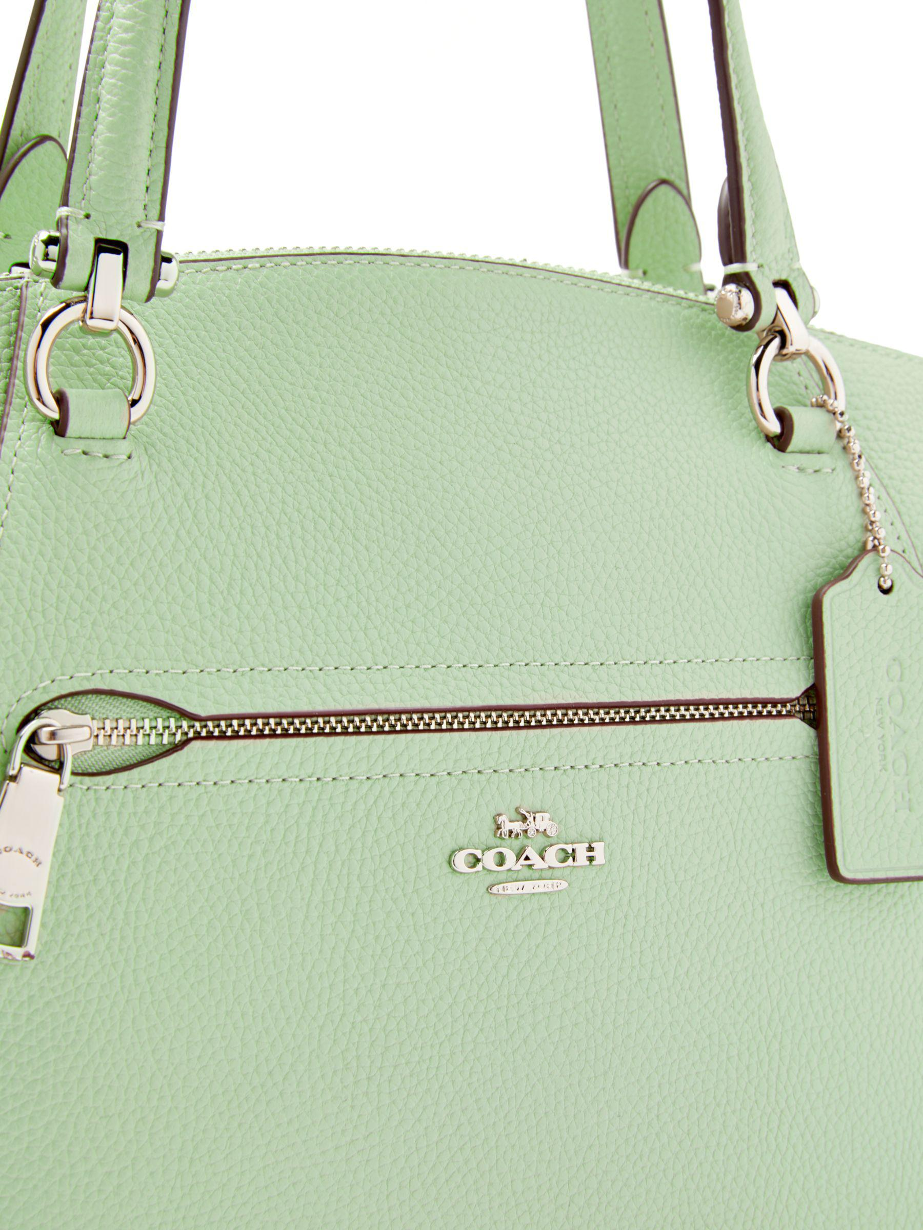 b57bebeb079 ... shop john lewis coach prairie pebble leather satchel bag in green lyst  6621e e0066 ...