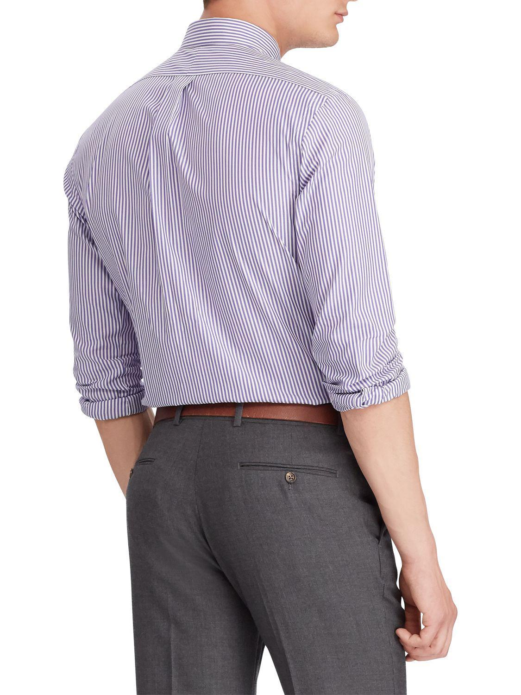07362688c3 Ralph Lauren Polo Poplin Stripe Slim Fit Shirt in Purple for Men - Lyst