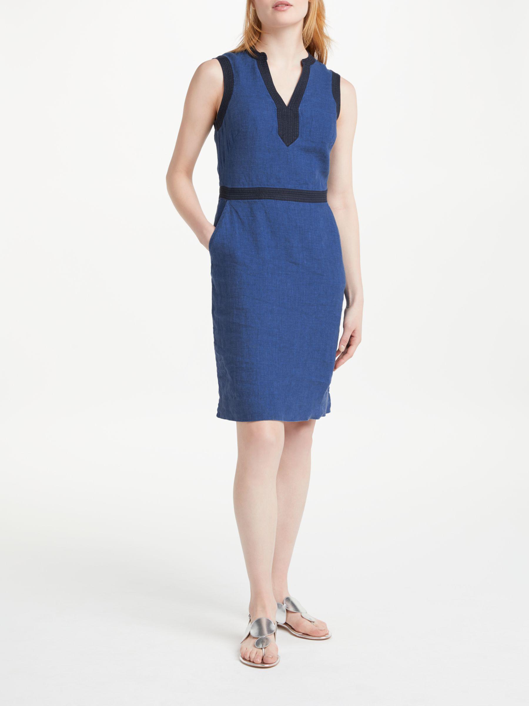 23858025e5 Boden Linen Notch Neck Dress in Blue - Lyst