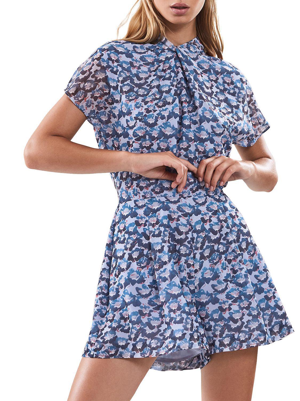 98efd2a3e6 Reiss Loreta Floral Ditsy Playsuit in Blue - Lyst