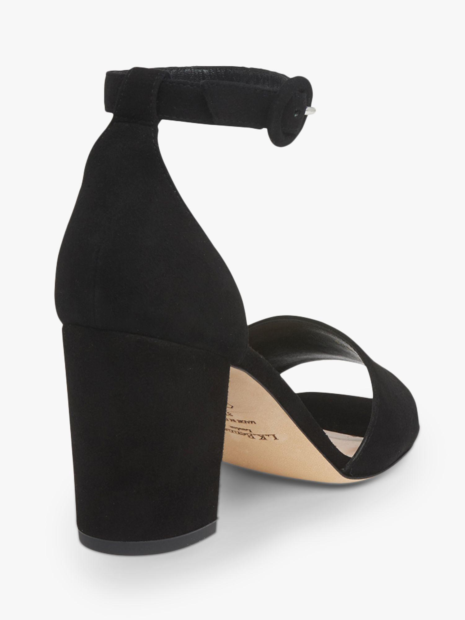 42589abb7b7 L.K.Bennett Hester Black Suede Block Heel Sandals in Black - Save 25 ...
