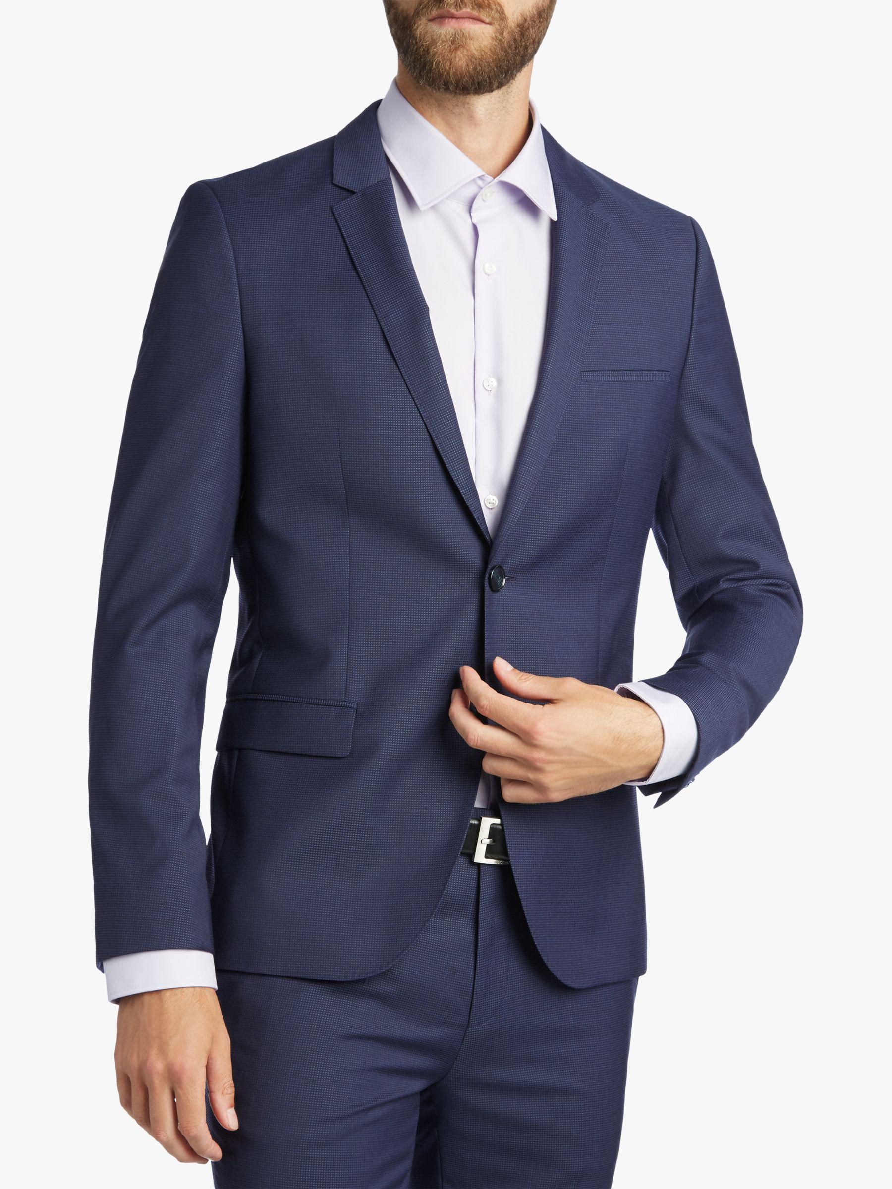 311244ac BOSS. Men's Blue Hugo By Arti/hesten Fil A Fil Wool Super Slim Suit Jacket
