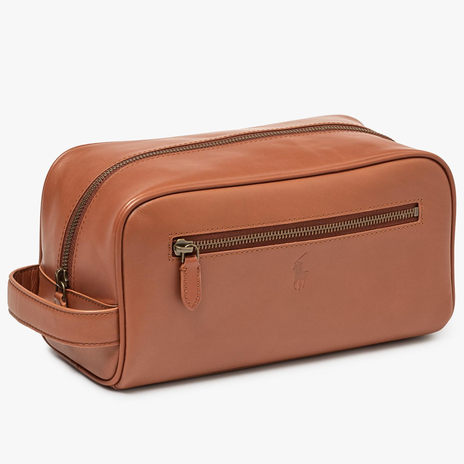 2fda029e8f4c Ralph Lauren Polo Leather Shave Kit Wash Bag in Brown for Men - Lyst