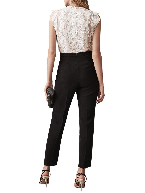 88213c1a9b6 Reiss Suzy Lace Jumpsuit in Black - Lyst