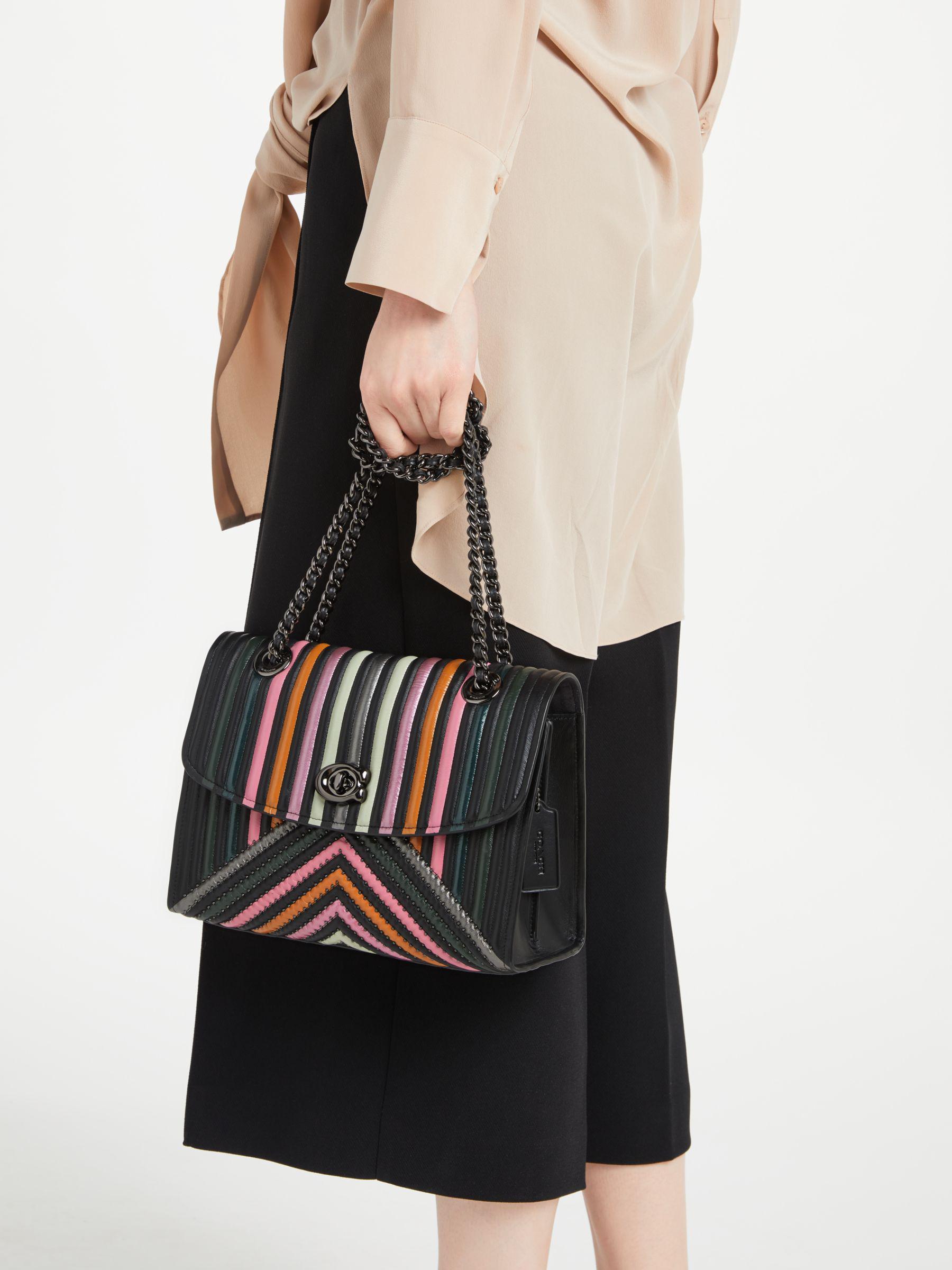 5191d509c007 COACH Parker Leather Shoulder Bag in Black - Lyst