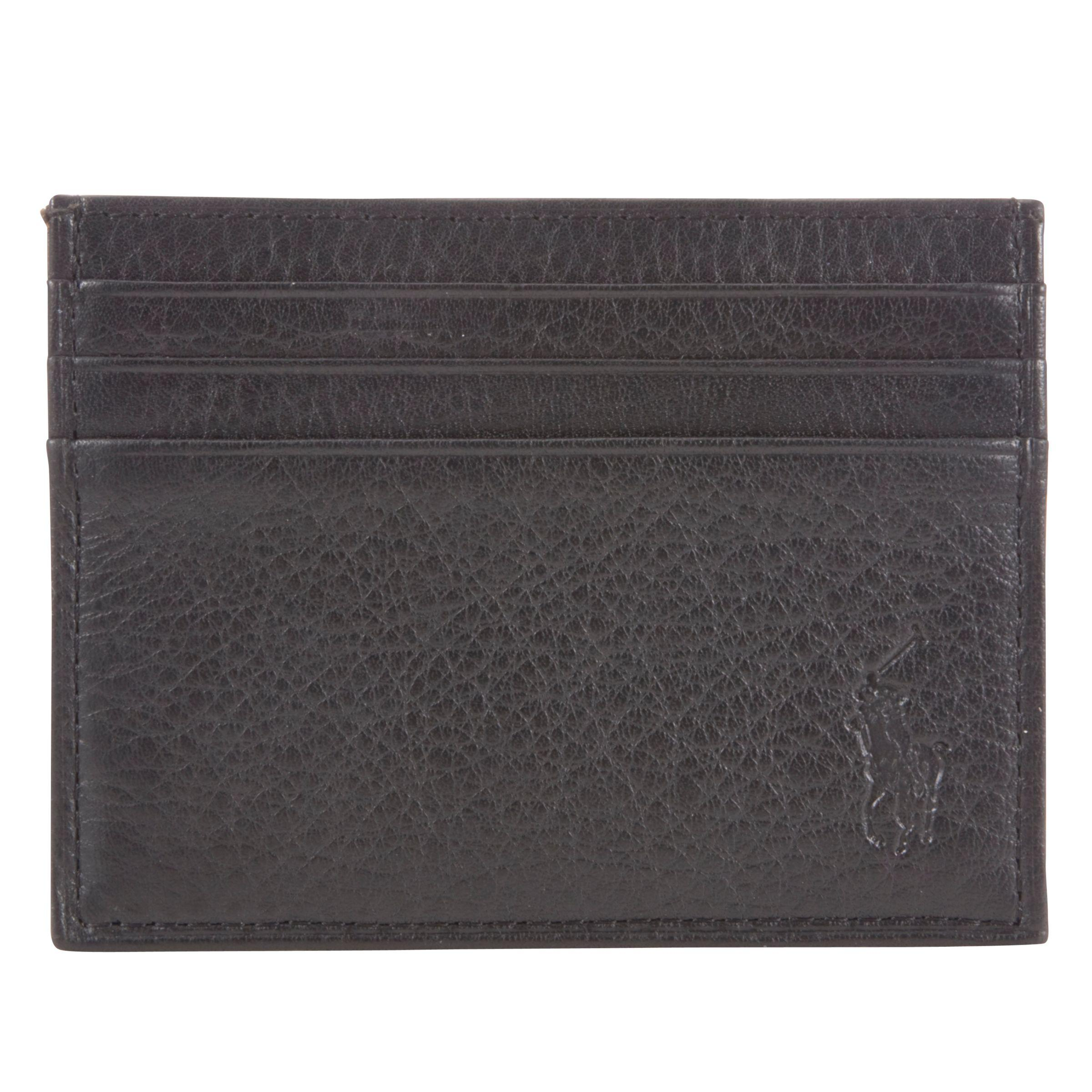 b774fafadd Ralph Lauren Polo Pebble Leather Card Holder in Black for Men - Lyst