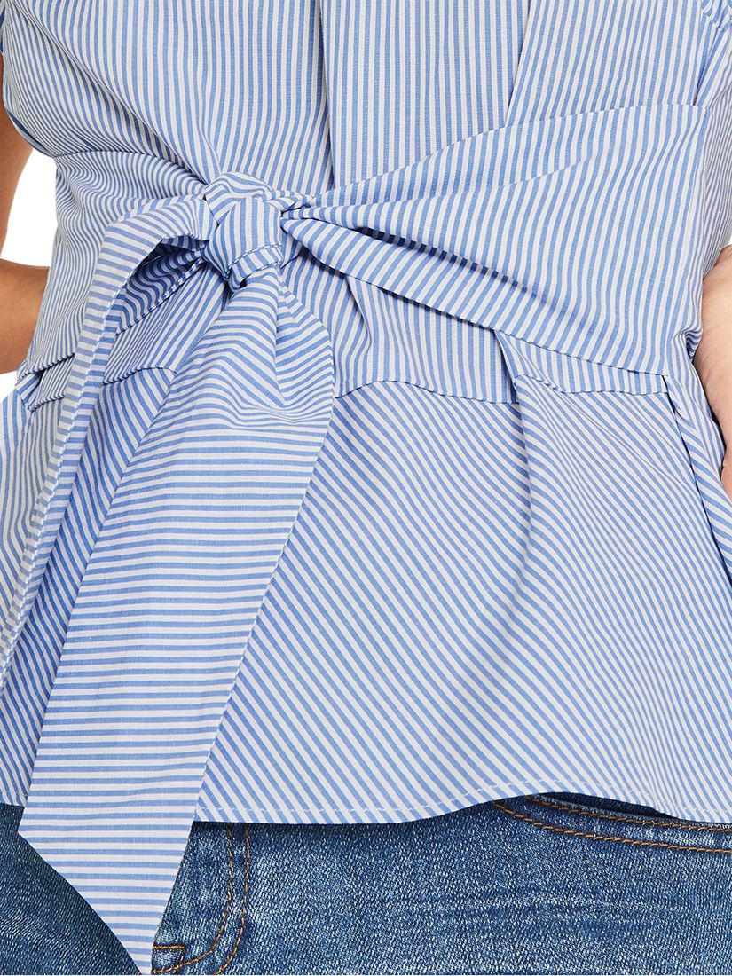07d770b2be4e Oasis Ticking Stripe Tie Front T-shirt in Blue - Lyst