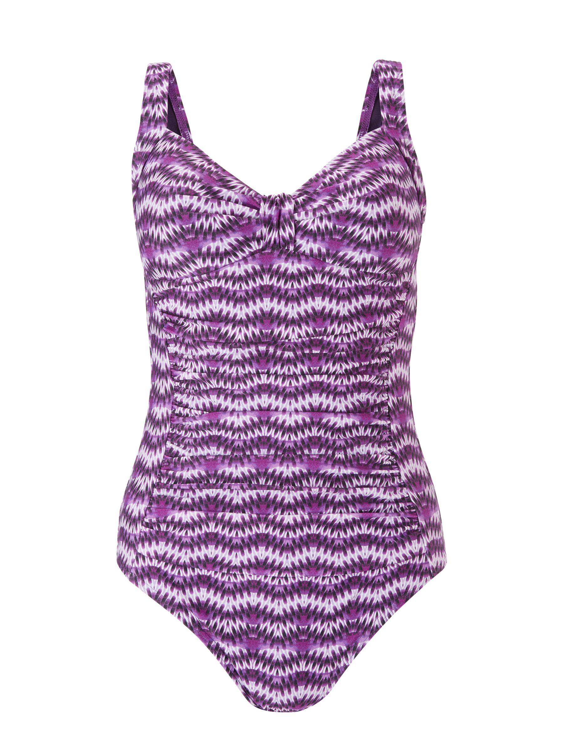 a6f6fa380b39e John Lewis Wavy Ikat Ruched Cup Control Swimsuit in Purple - Lyst