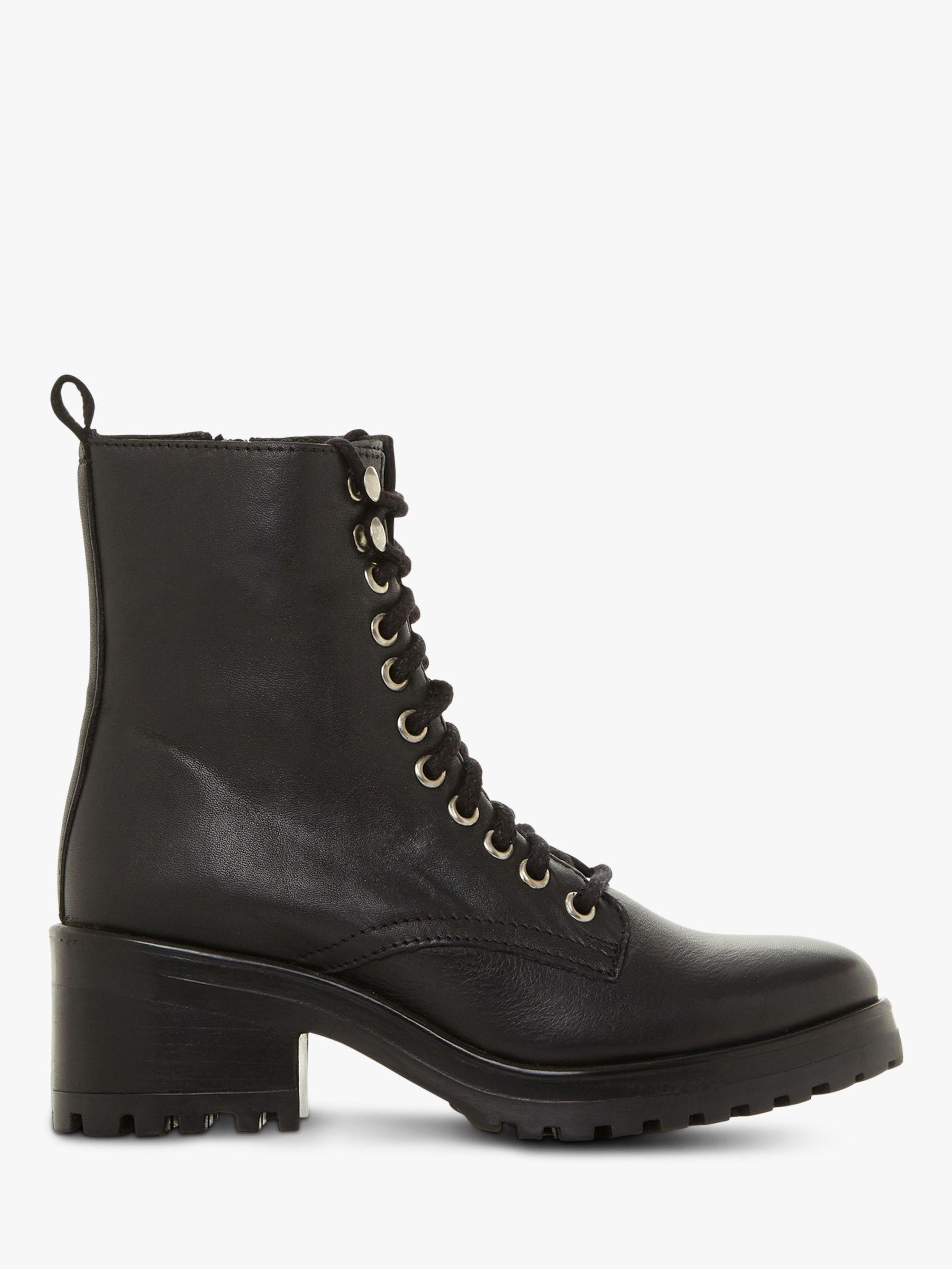 8a5db4276f9 Steve Madden Geneva Block Heel Lace Up Ankle Boots in Black - Lyst