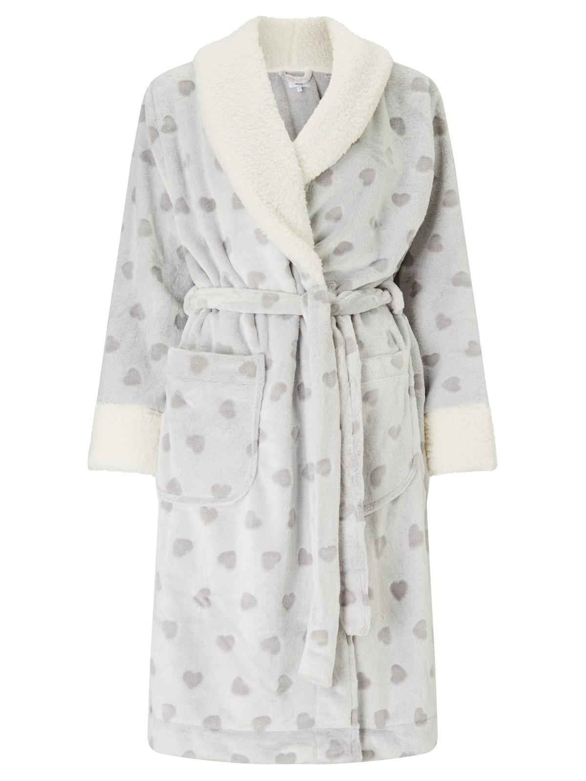 John Lewis Heart Embossed Fleece Dressing Gown In Gray Lyst