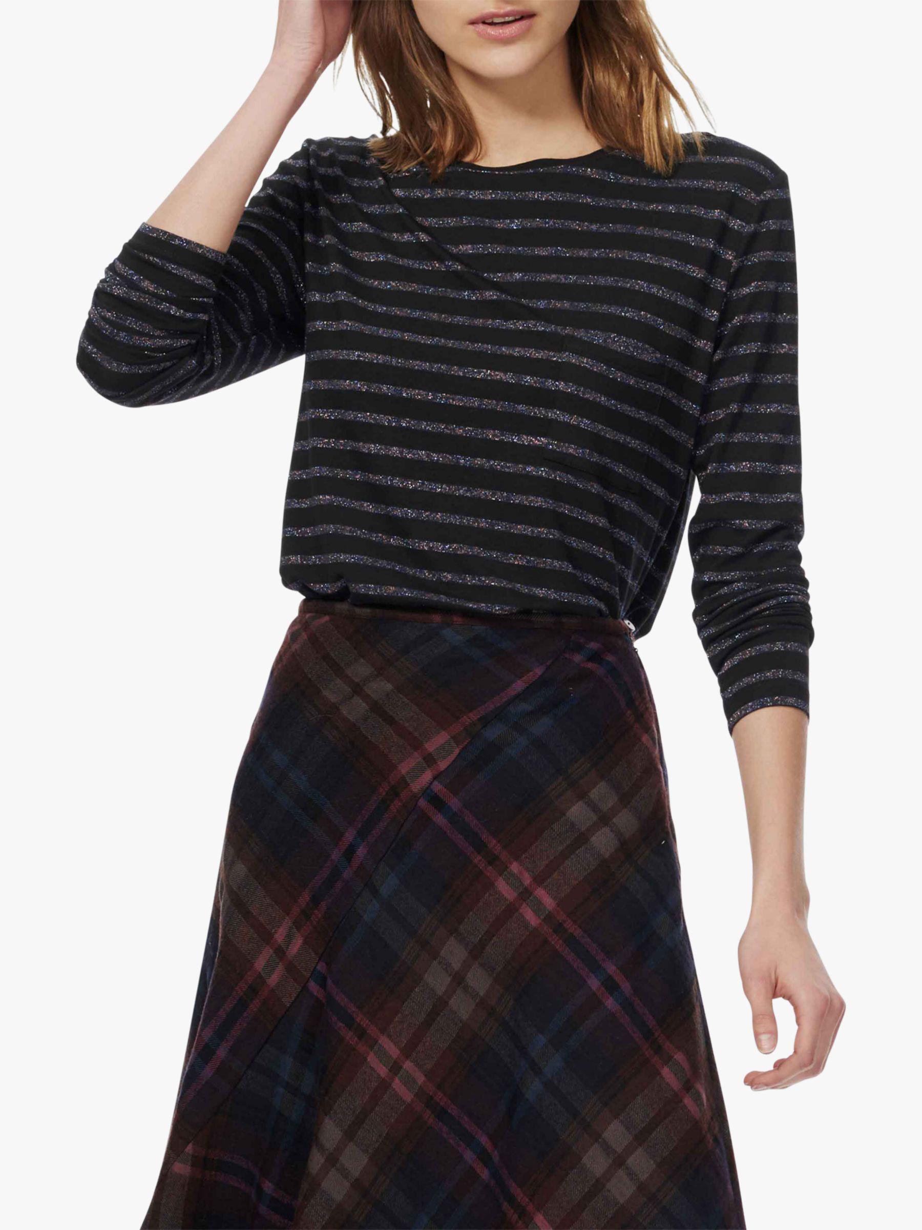 29ed77308fbc0 Brora Metallic Striped Long Sleeve T-shirt - Lyst