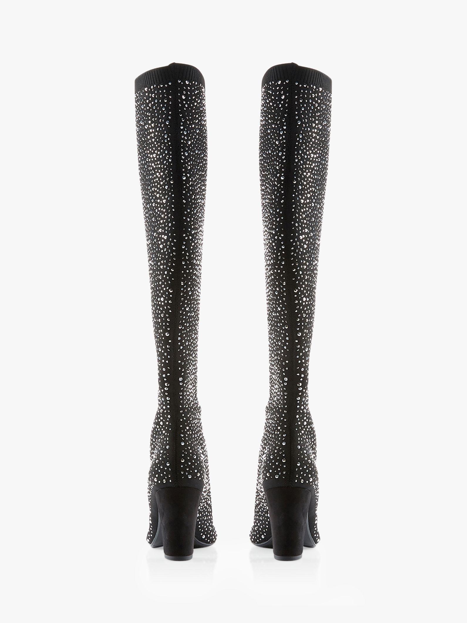 7f67d6e52e Dune Socialite Block Heel Embellished Over The Knee Boots in Black ...