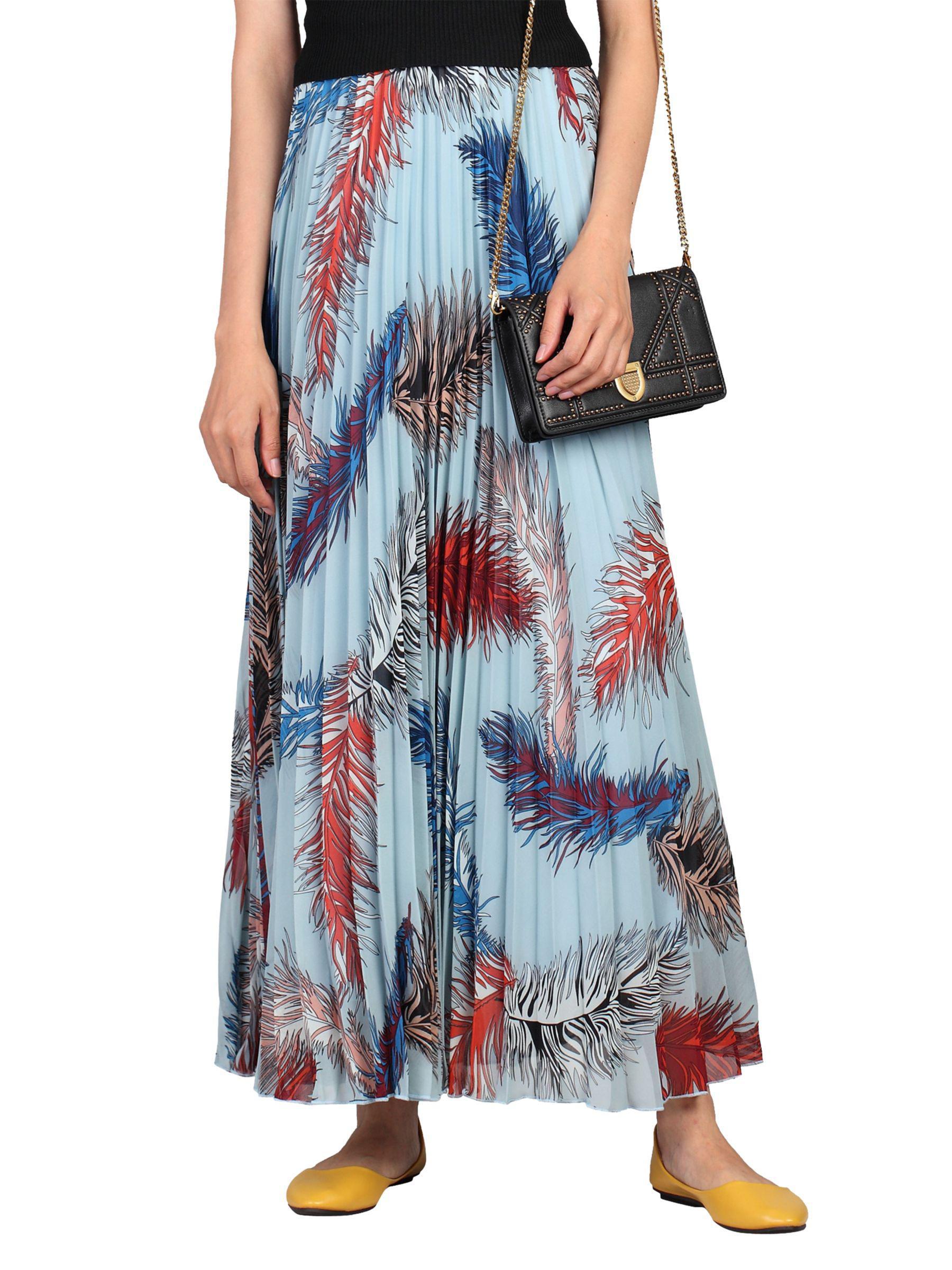 766a6d936c Jolie Moi Pleated Feather Maxi Skirt in Blue - Lyst