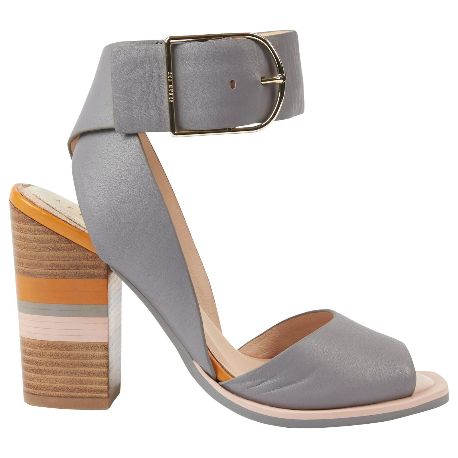 af67d4144709bc Ted Baker Thaise Block Heeled Sandals in Gray - Lyst