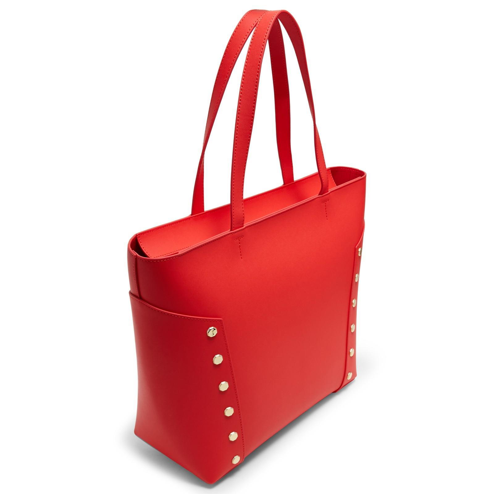 e4bc1f1de Ted Baker Tamiko Stud Edge Leather Shopper Bag in Red - Lyst