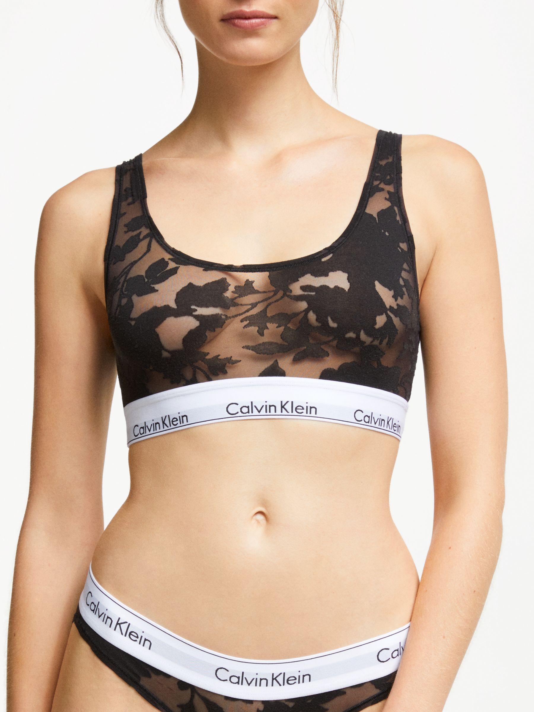 c0887809af793b Calvin Klein - Black Underwear Modern Cotton Floral Burnout Bralette - Lyst.  View fullscreen