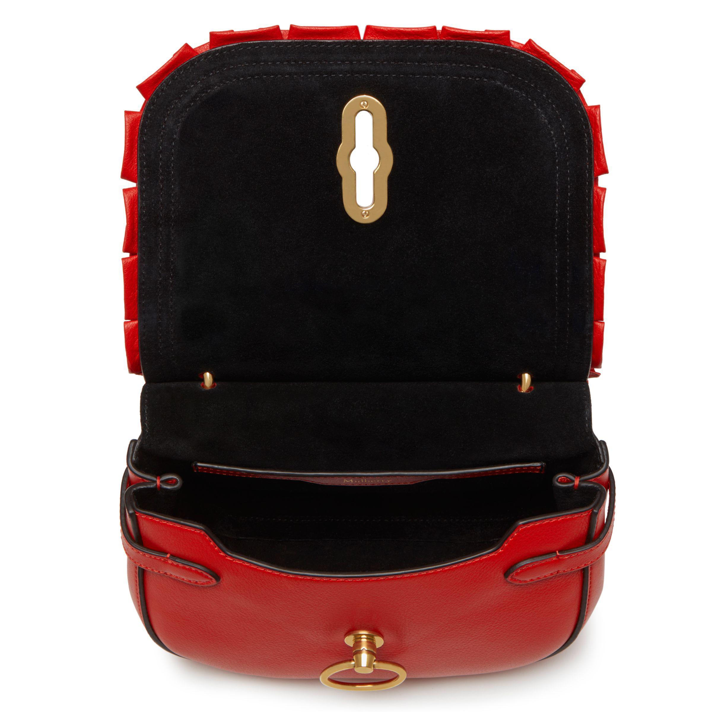 ... discount code for john lewis mulberry amberley leather small frill edge  satchel in red e8932 a95ea 5beeb4c3c19cb