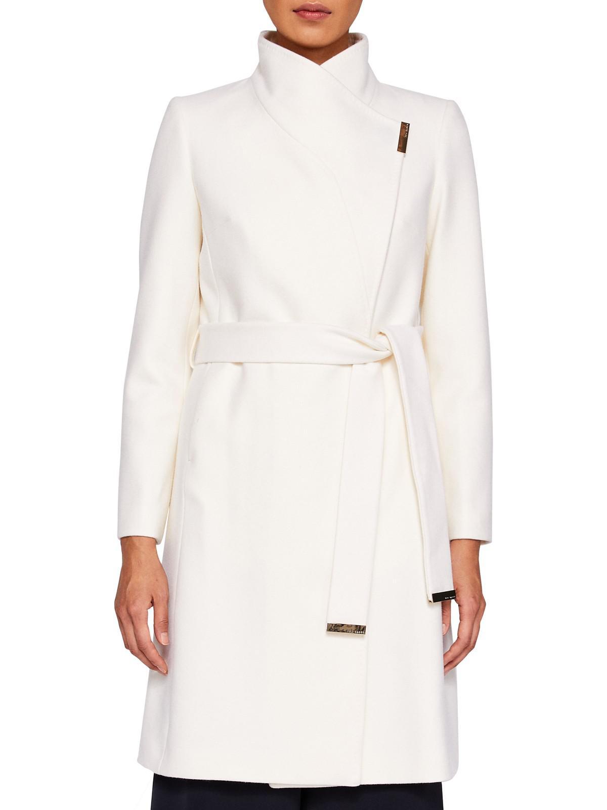 edb38faae Ted Baker Kikiie Wrap Front Coat in White - Lyst