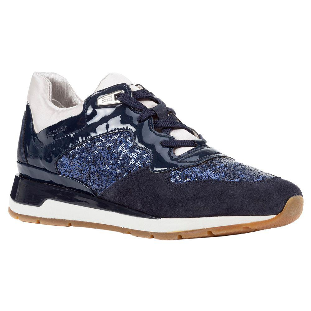 e34114f71bc Geox Women's Shahira Lace Up Trainers in Blue - Lyst
