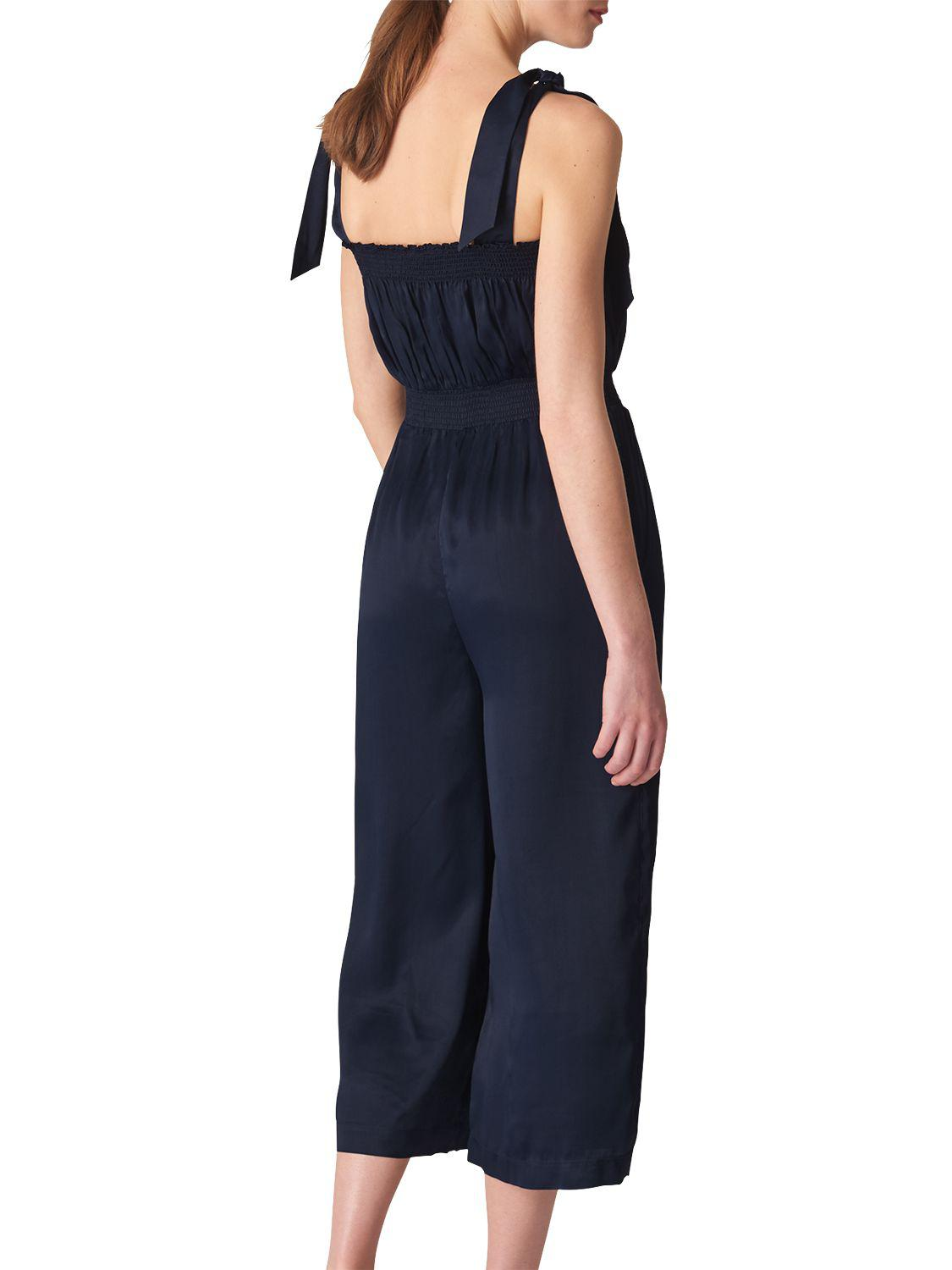 81a89bb26812 Whistles Ally Tie Shoulder Jumpsuit in Blue - Lyst